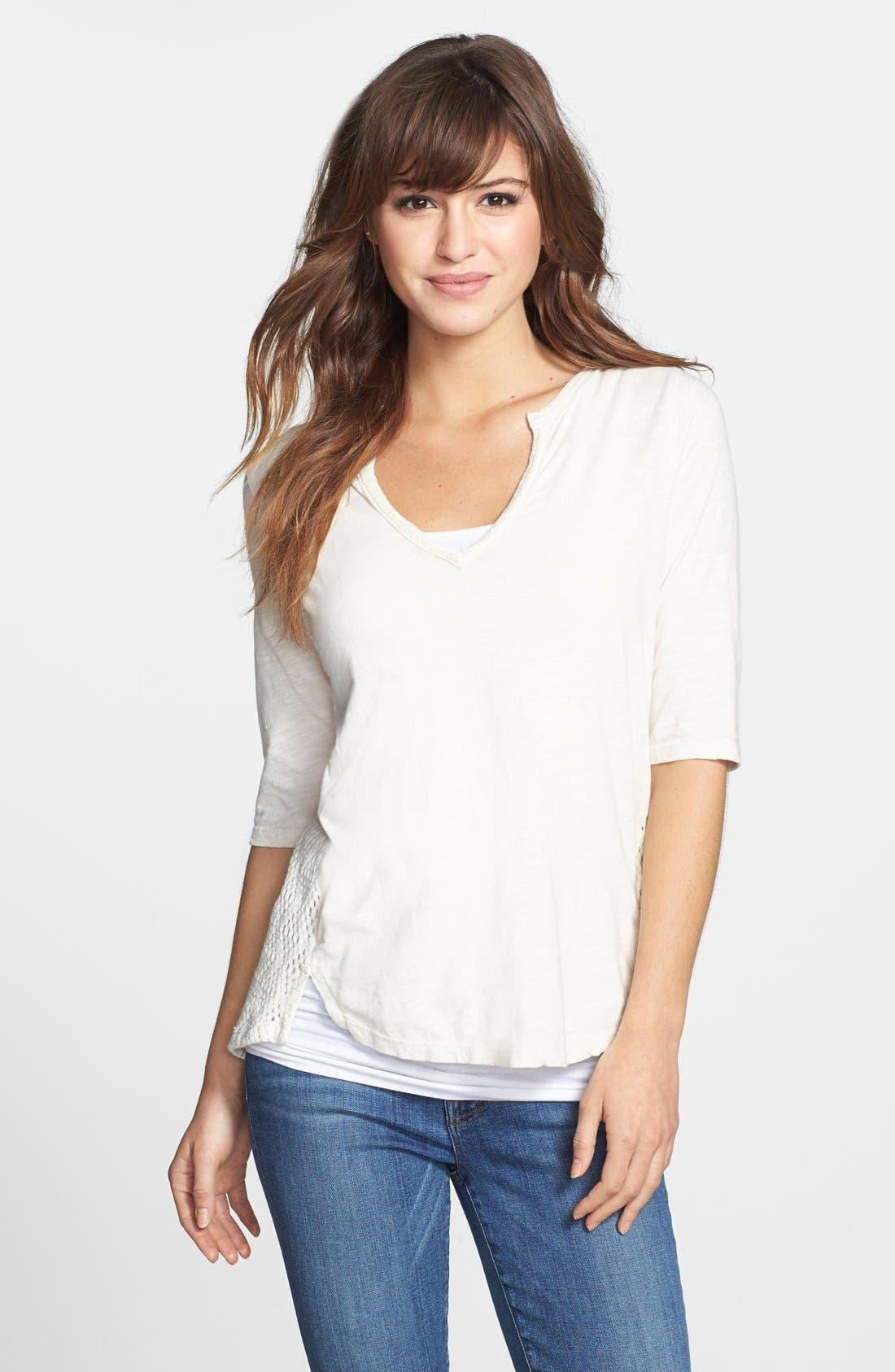 Alternate Image 1 Selected - Lucky Brand 'Calistoga' Crochet Back Top