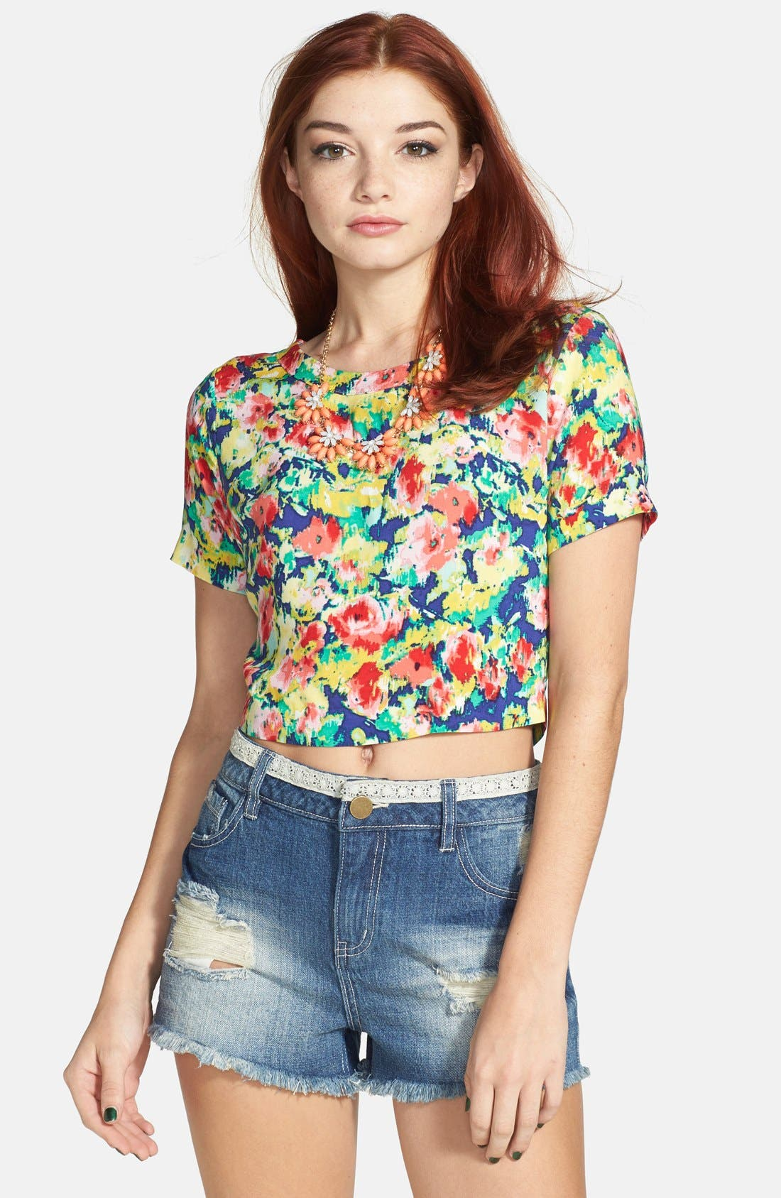 Main Image - Socialite Back Button Print Crop Top (Juniors) (Online Only)