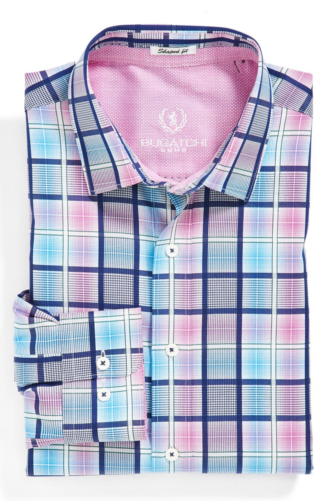 Alternate Image 2  - Bugatchi Shaped Fit Checked Sport Shirt