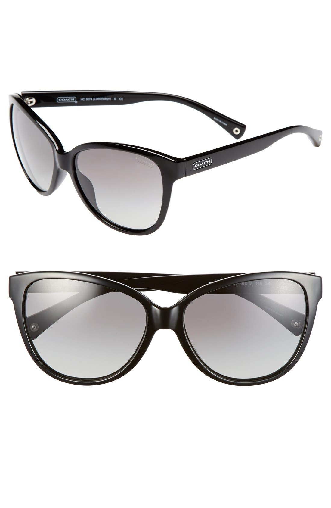 Main Image - COACH 58mm Cat Eye Sunglasses