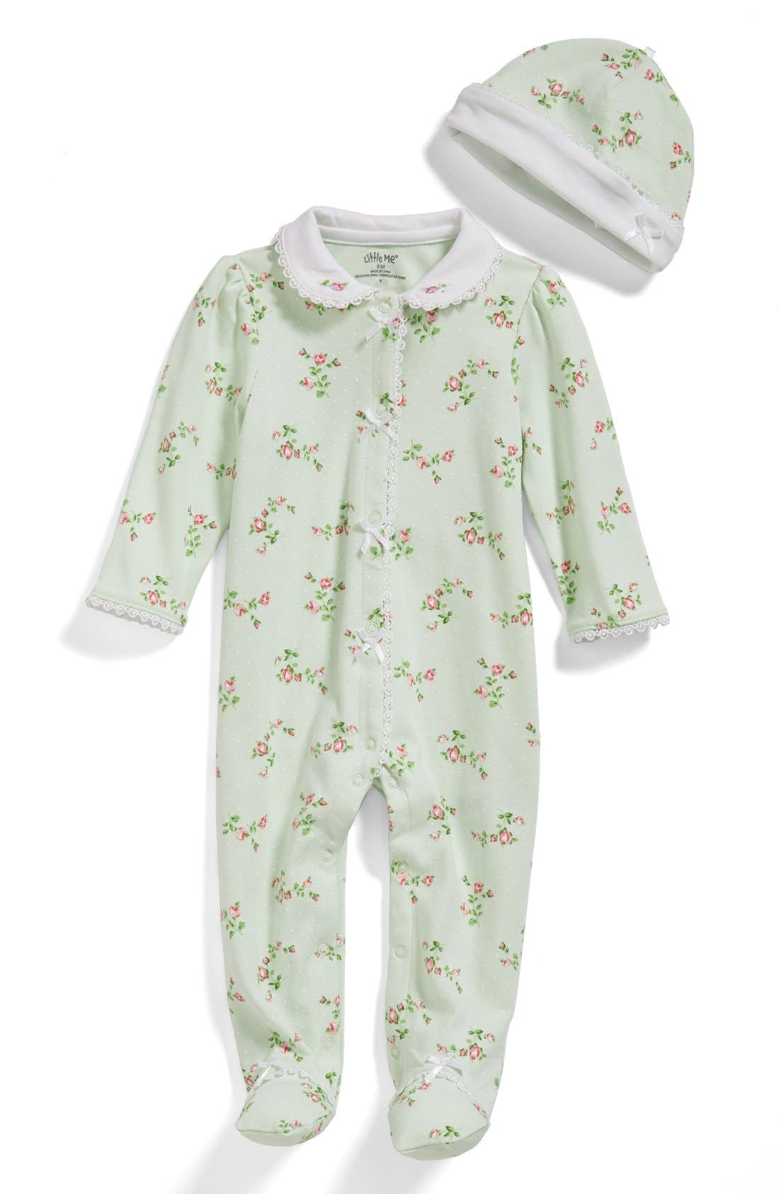 Main Image - Little Me 'Rose Spray' One-Piece & Hat (Baby Girls)