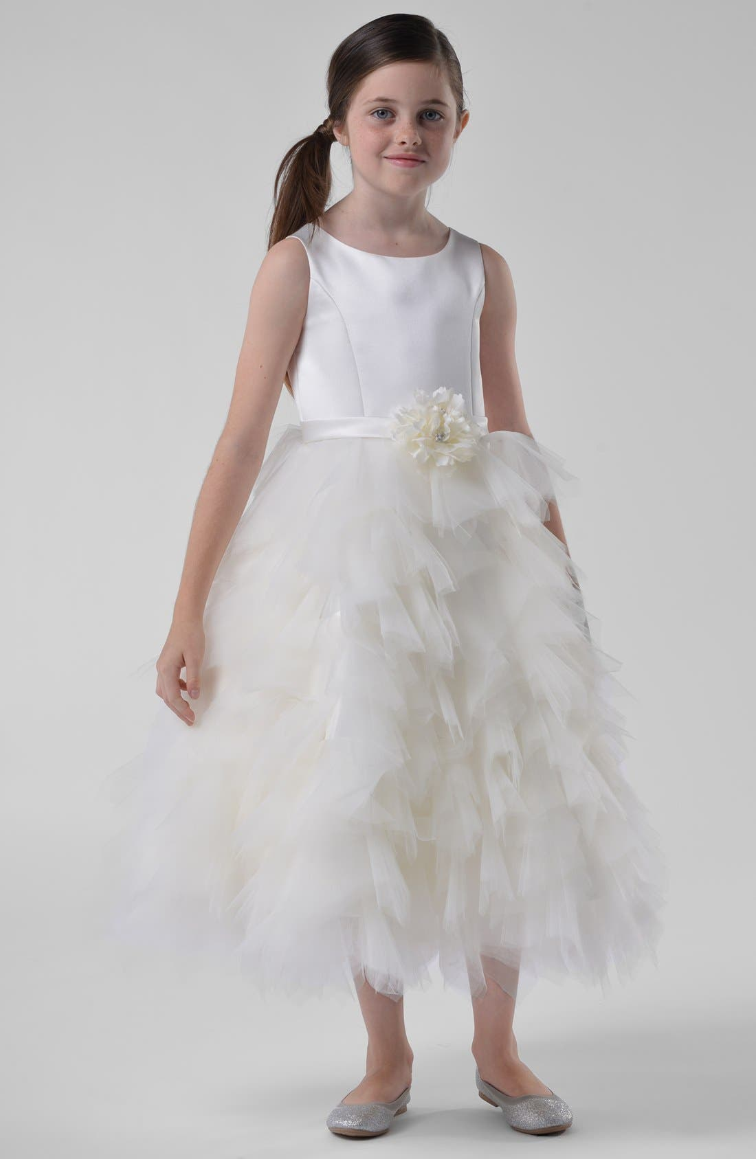 Alternate Image 5  - Us Angels Satin & Tulle Dress (Toddler Girls, Little Girls & Big Girls)