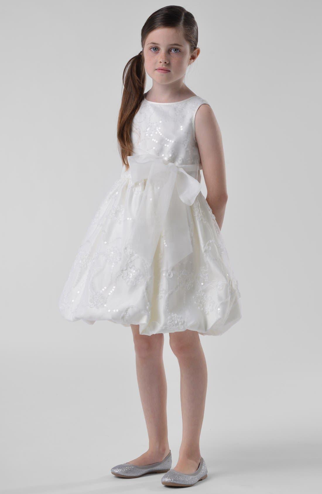 Alternate Image 1 Selected - Us Angels Embroidered Organza Dress (Little Girls & Big Girls)