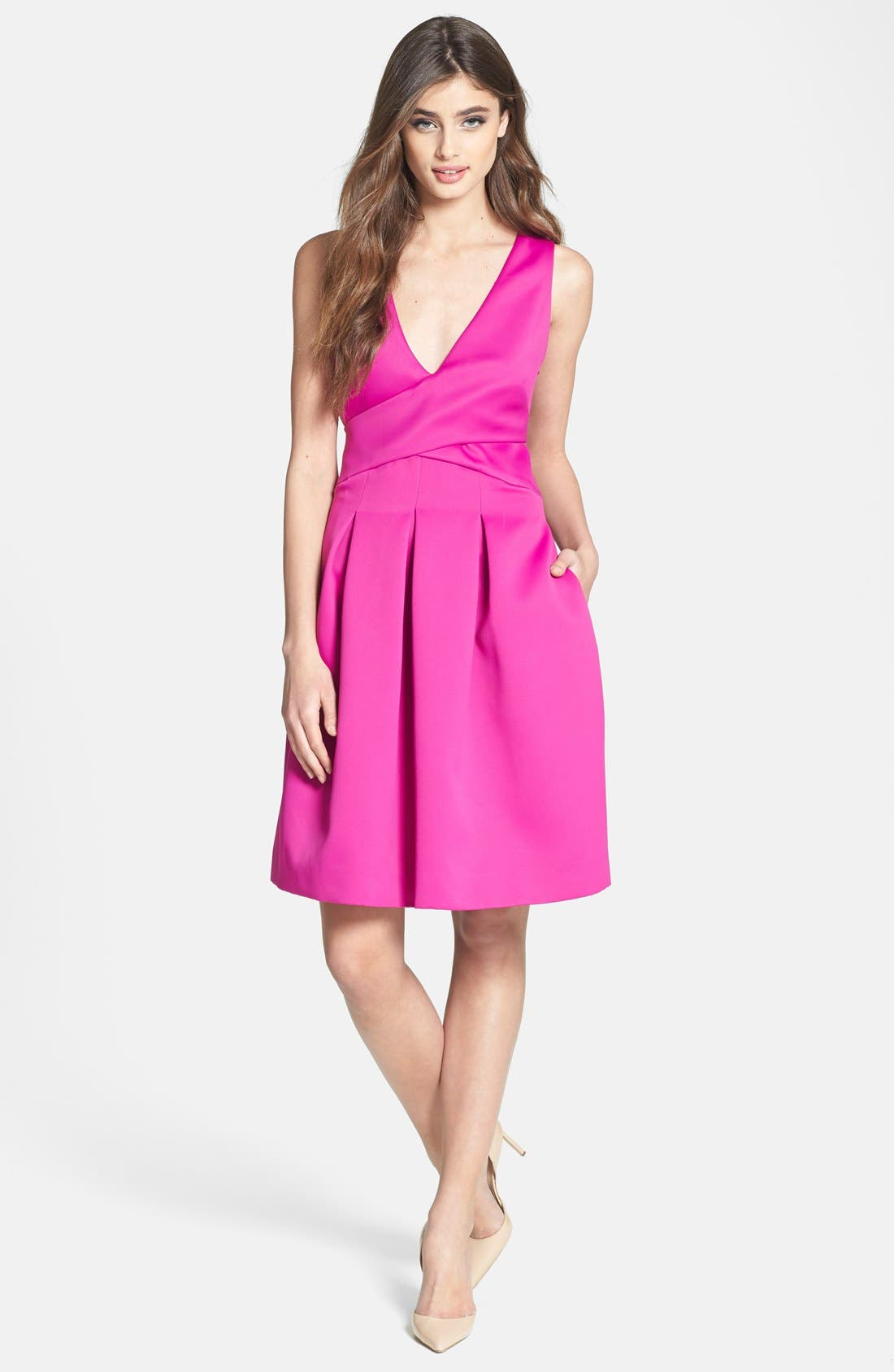 Main Image - Halston Heritage Double Face Satin Fit & Flare Dress