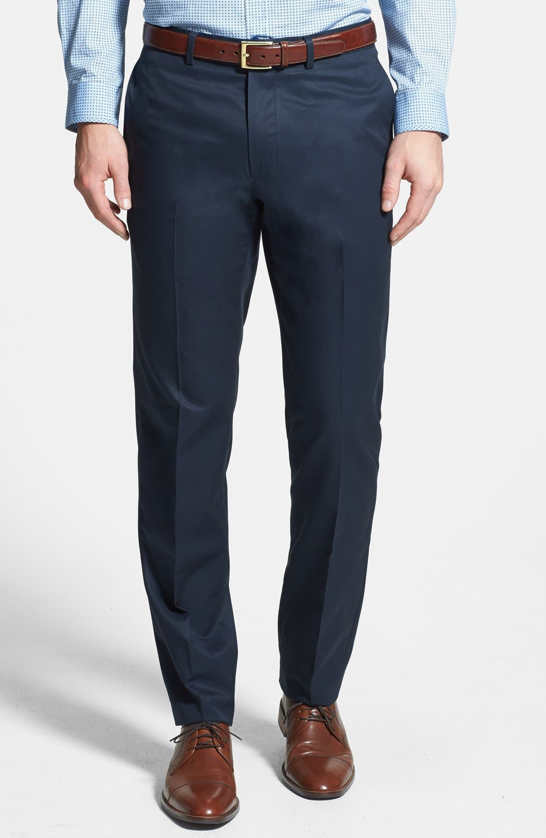 Main Image - Nordstrom Flat Front Travel Cotton Trousers