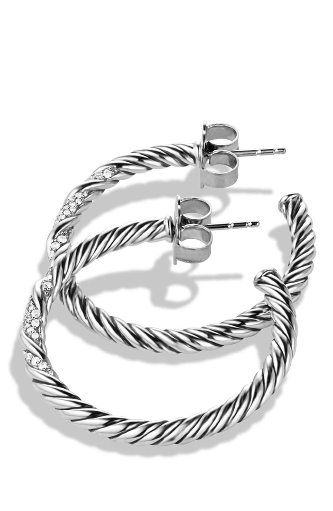Alternate Image 2  - David Yurman 'Willow' Medium Hoop Earrings with Diamonds