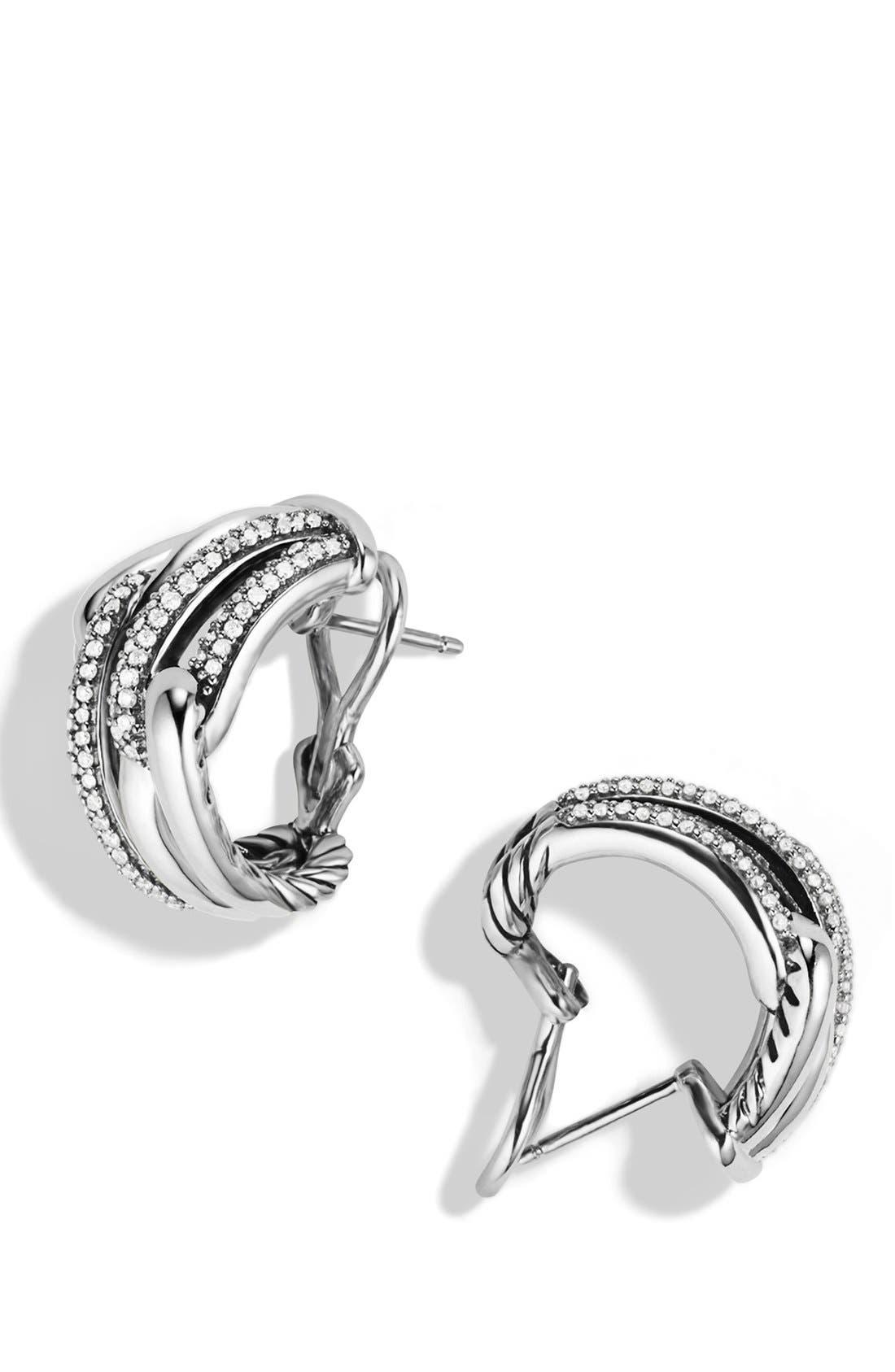 Alternate Image 2  - David Yurman 'Labyrinth' Double Loop Earrings with Diamonds