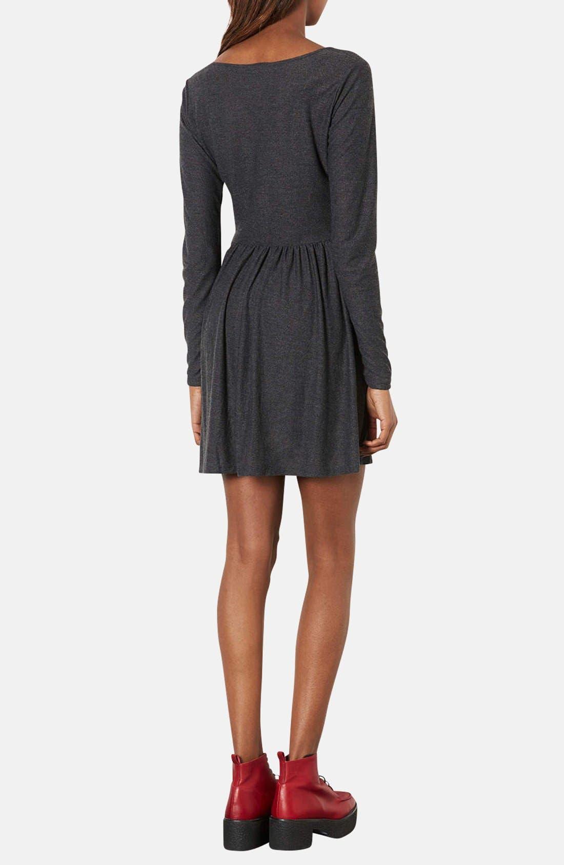 Alternate Image 2  - Topshop Long Sleeve Jersey Skater Dress