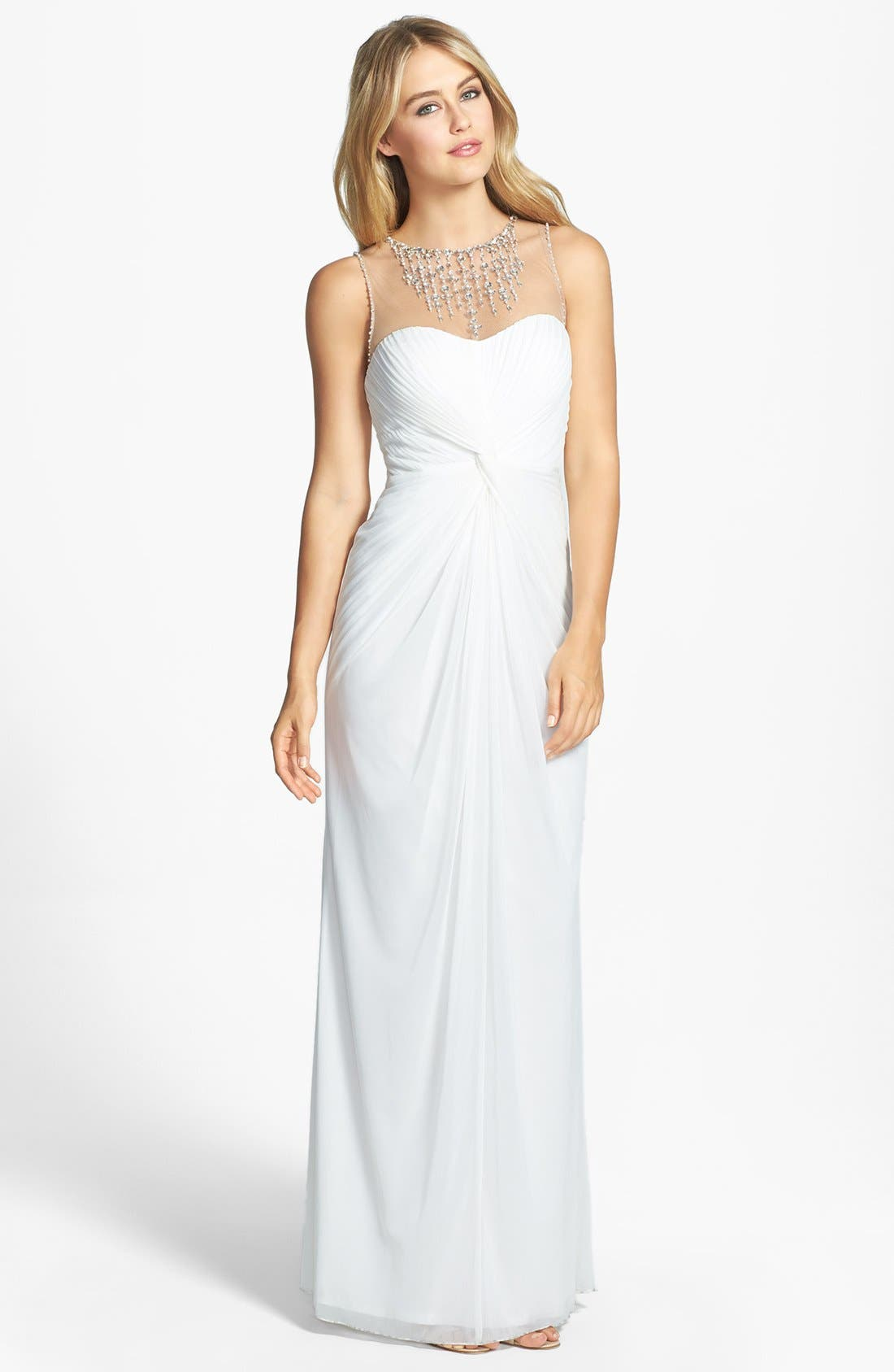Main Image - Adrianna Papell Embellished Twist Front Mesh Gown