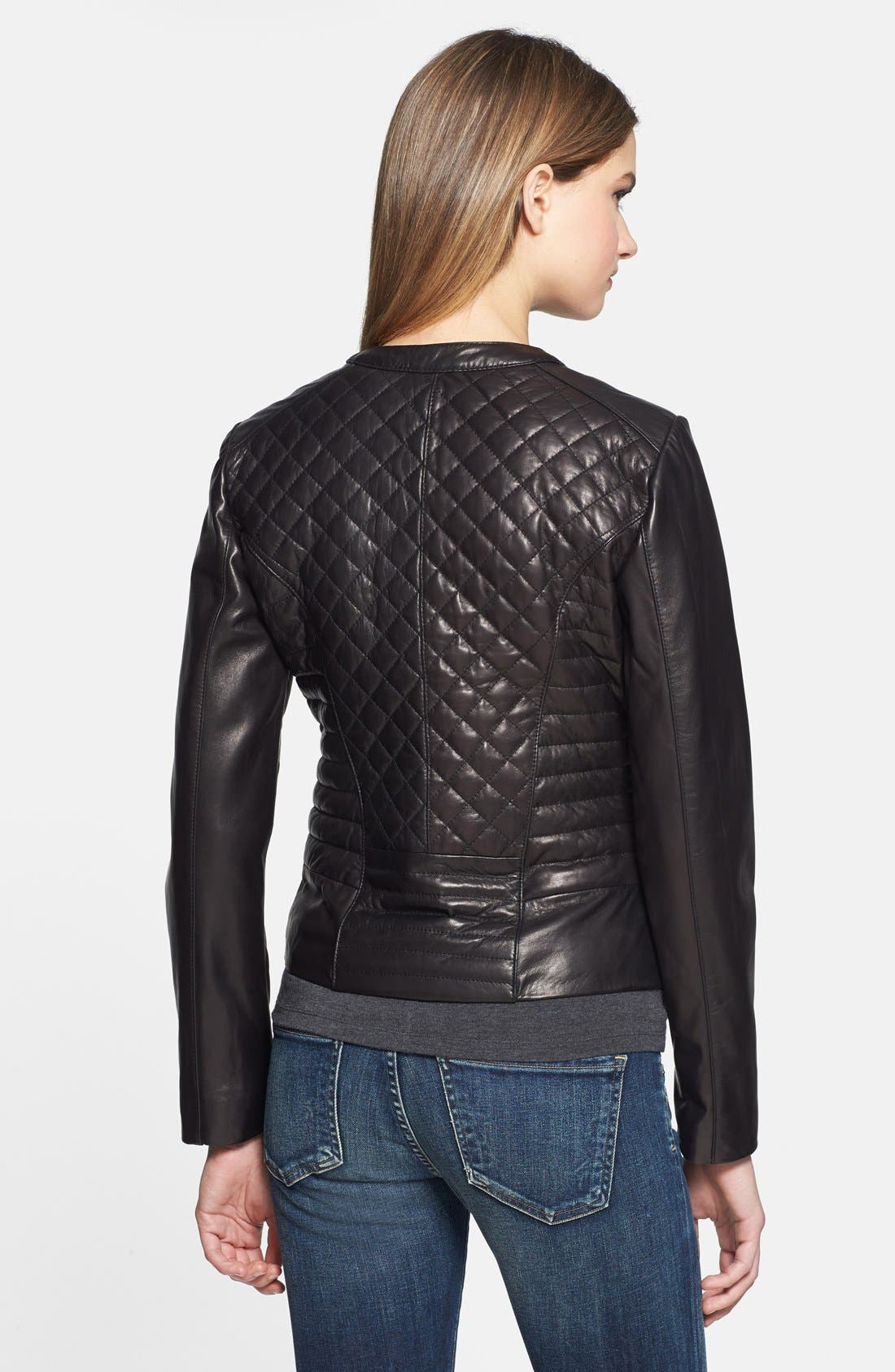 Alternate Image 2  - Cole Haan Quilted & Smooth Leather Jacket
