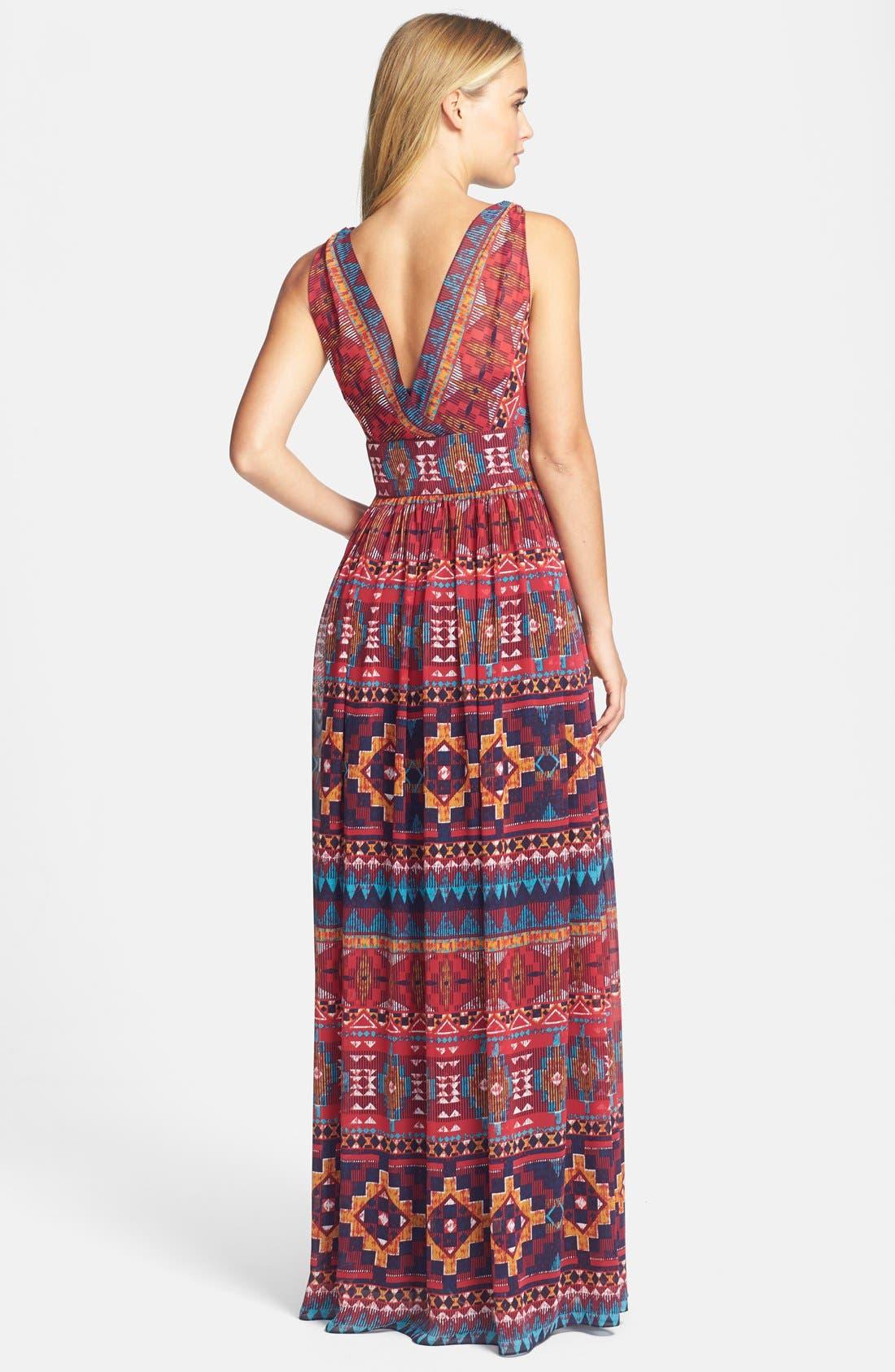 Alternate Image 2  - Maggy London Print Chiffon Maxi Dress