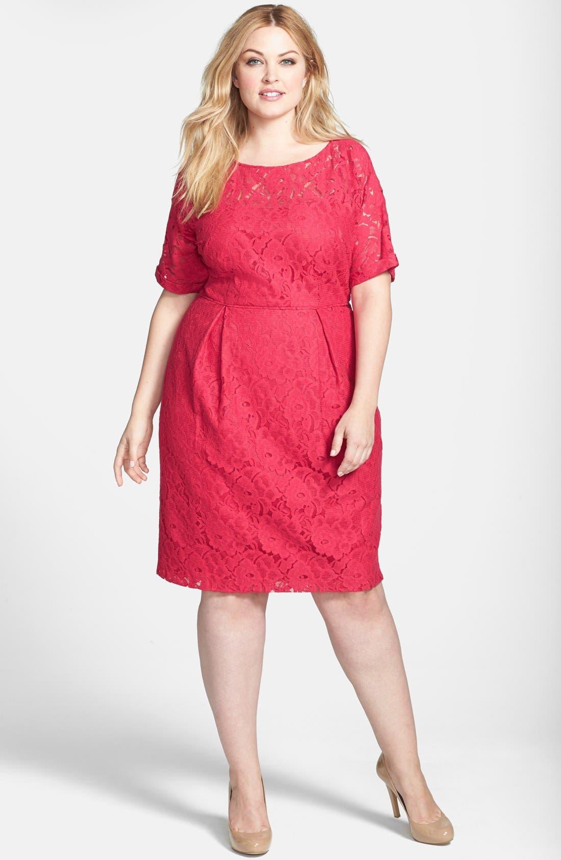 Main Image - Adrianna Papell Lace Sheath Dress (Plus Size)