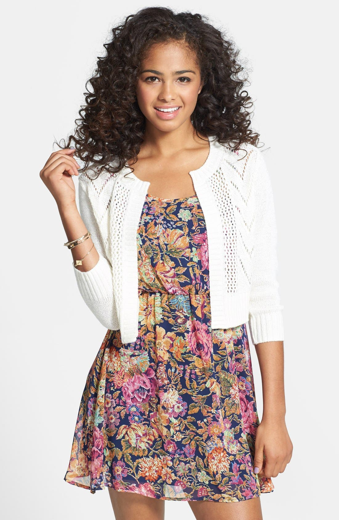 Alternate Image 1 Selected - Frenchi® Pointelle Knit Crop Cardigan (Juniors)