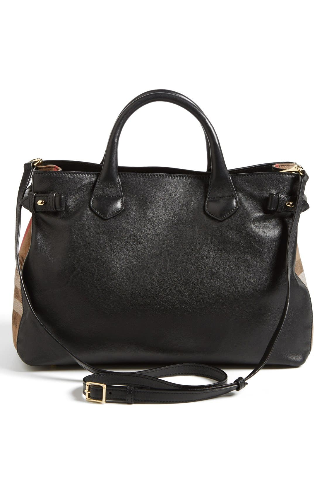 Alternate Image 4  - Burberry 'Medium Banner' House Check Leather Tote