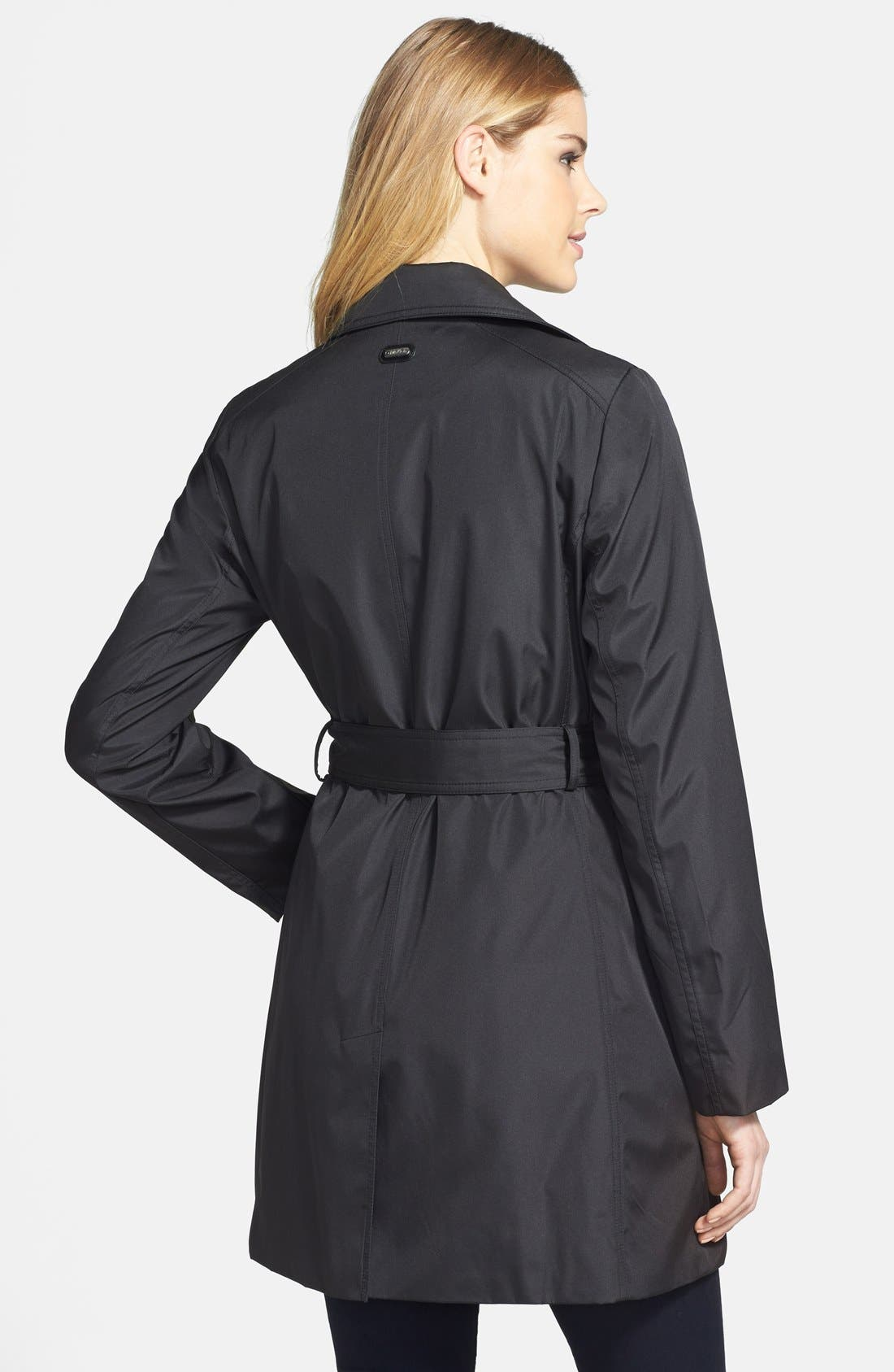 Alternate Image 2  - Calvin Klein Asymmetric Zip Trench Raincoat