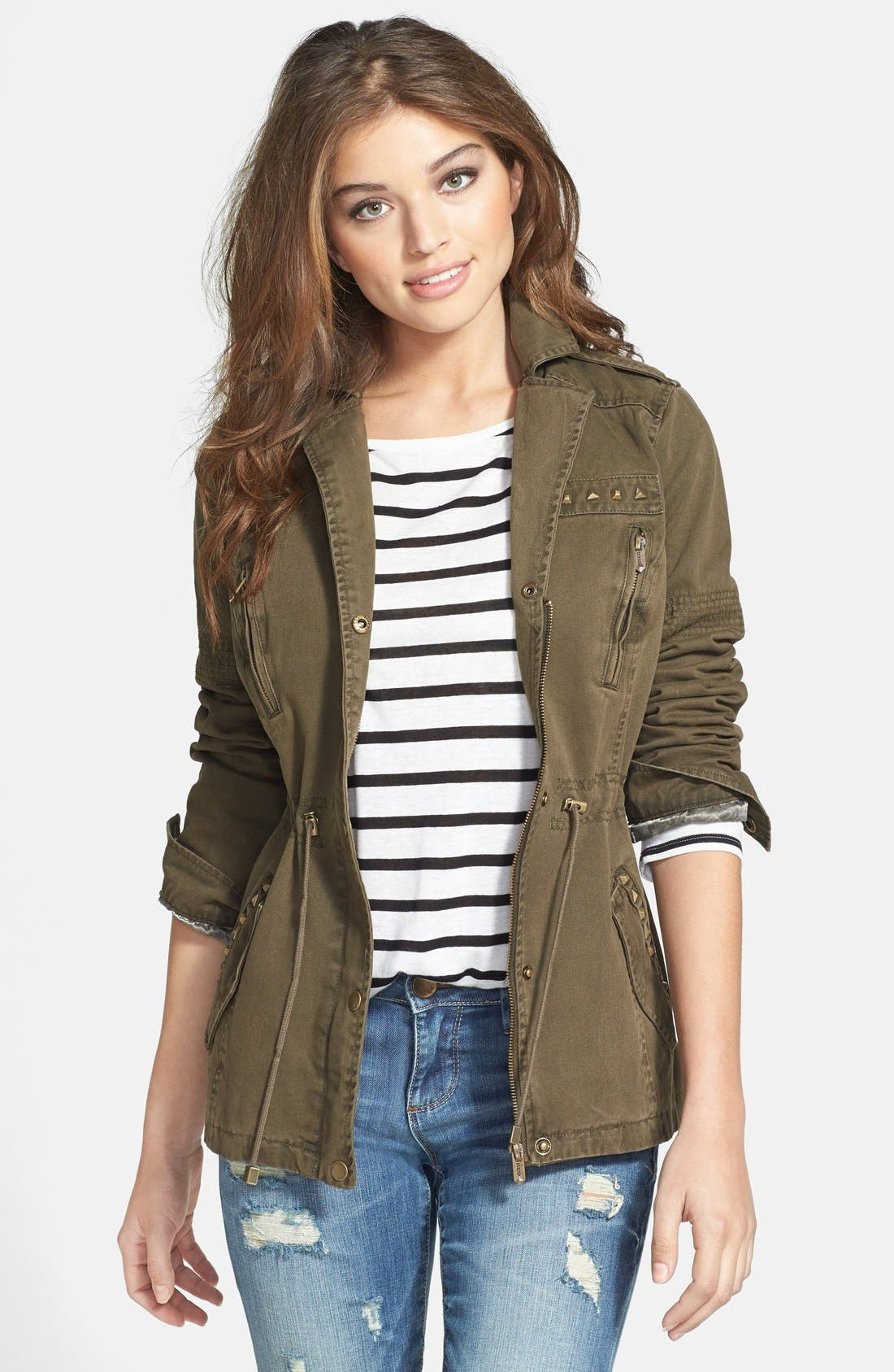 Alternate Image 1 Selected - GUESS Studded Army Anorak