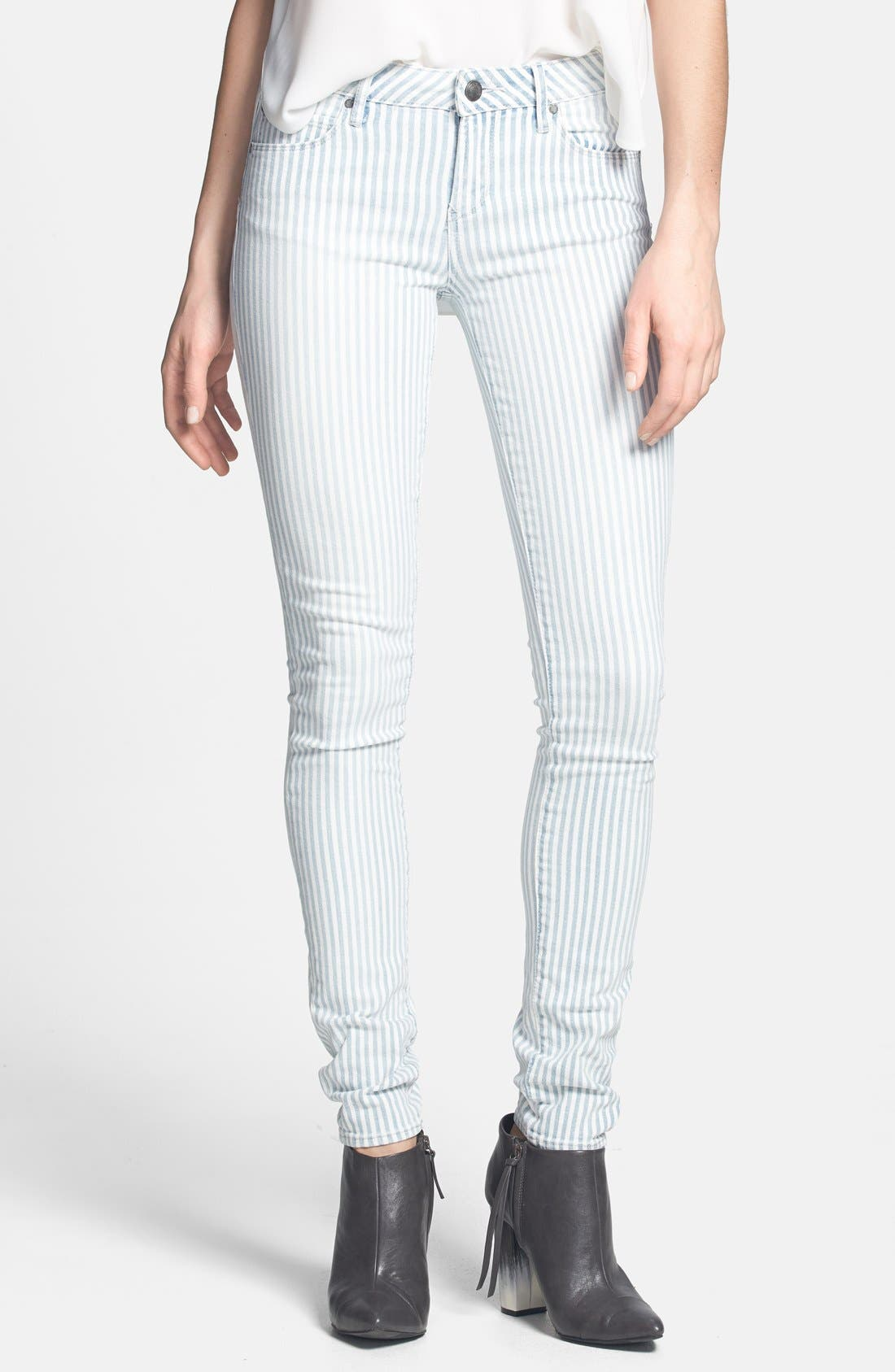 Alternate Image 1 Selected - Articles of Society 'Mya' Railroad Stripe Skinny Jeans (Juniors)