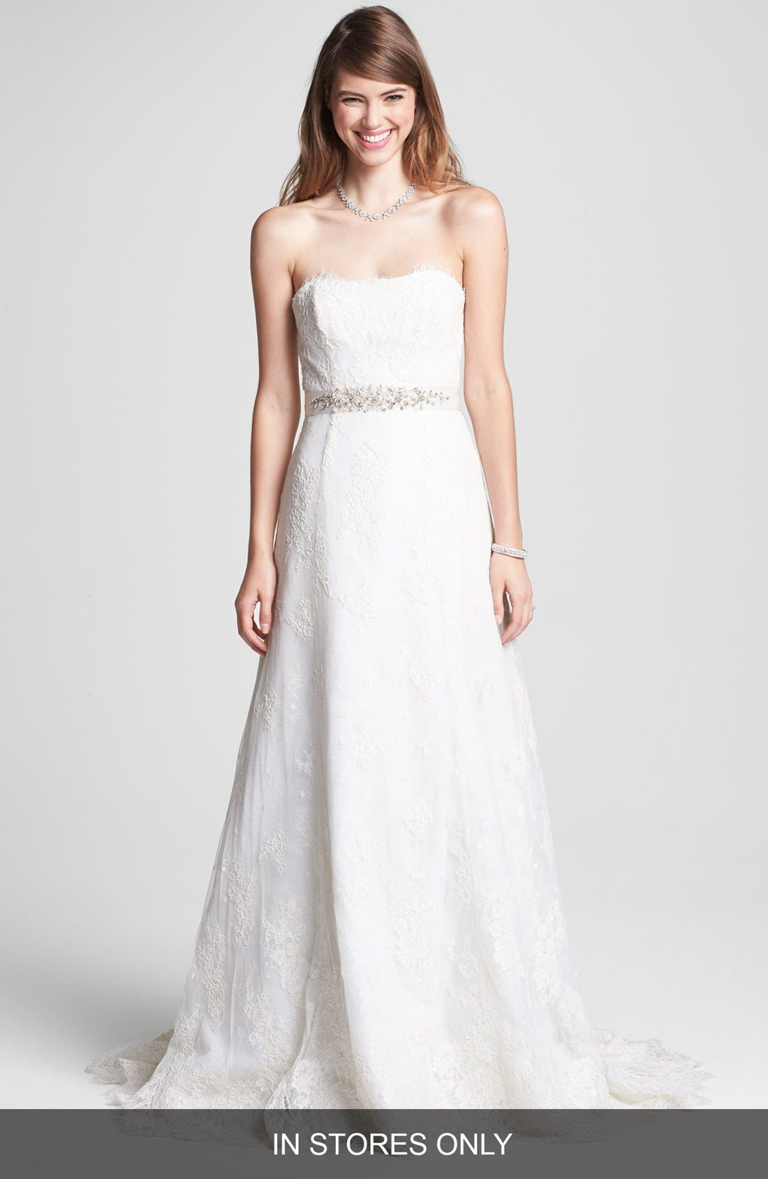 BLISS MONIQUE LHUILLIER Strapless Chantilly Lace Wedding Dress