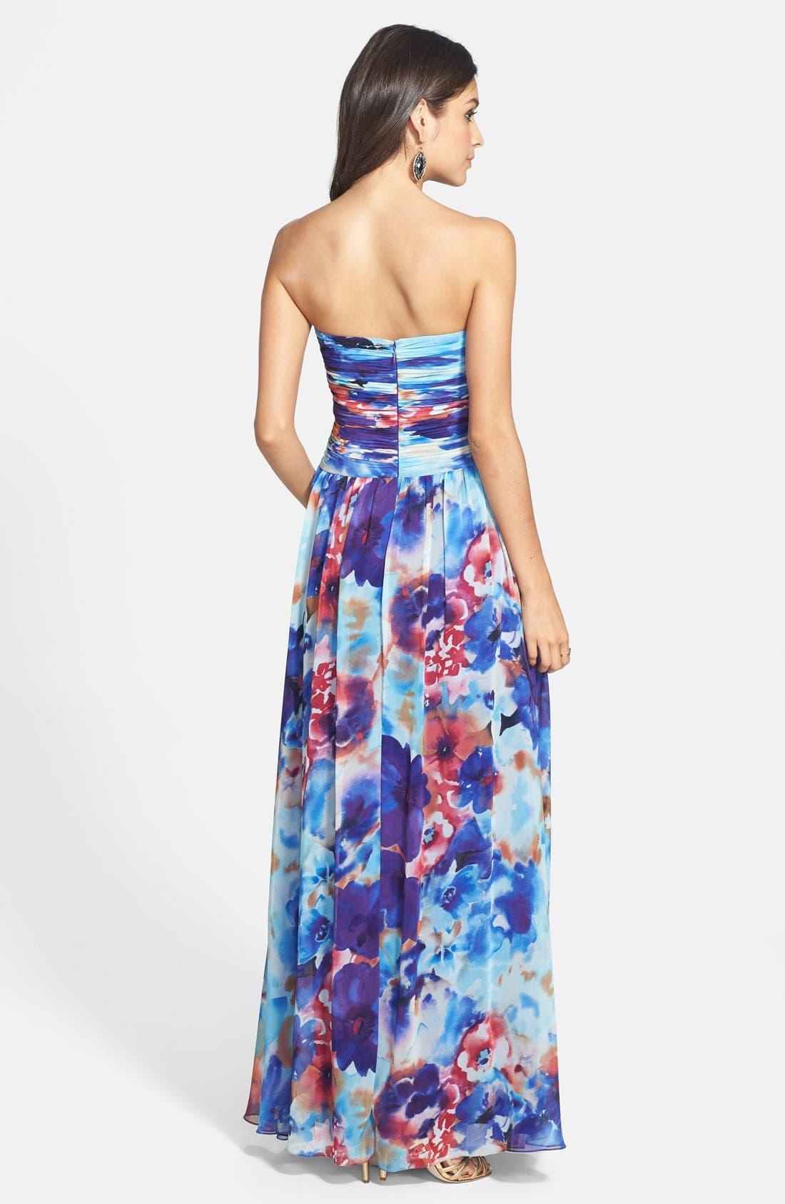 Alternate Image 2  - JS Boutique Print Chiffon Strapless Gown