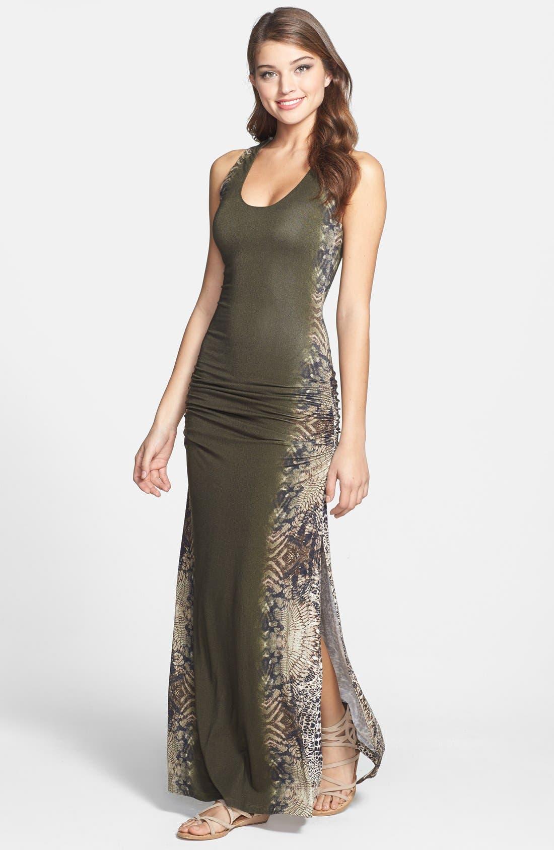 Main Image - Sky 'Iakova' Print Ruched Jersey Maxi Dress
