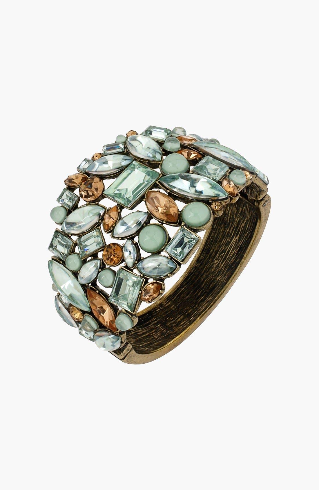 Alternate Image 1 Selected - Betsey Johnson 'Mint Multi' Hinged Bangle Bracelet