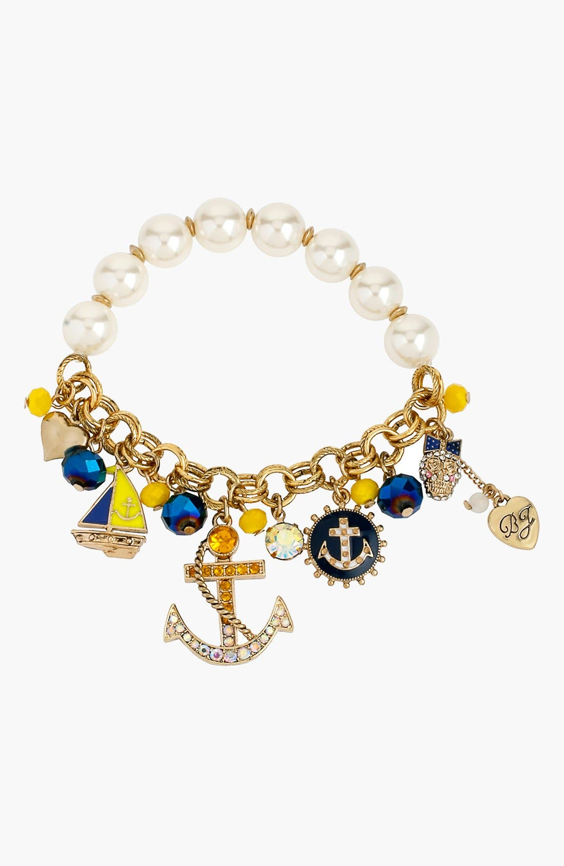 Main Image - Betsey Johnson 'Anchor Boost' Faux Pearl Charm Bracelet