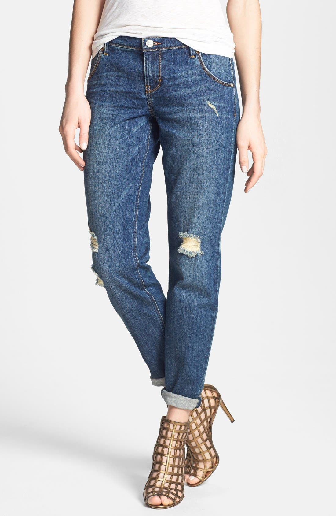 Main Image - Dittos 'Charlie' Destroyed Boyfriend Jeans (Lady Foot)