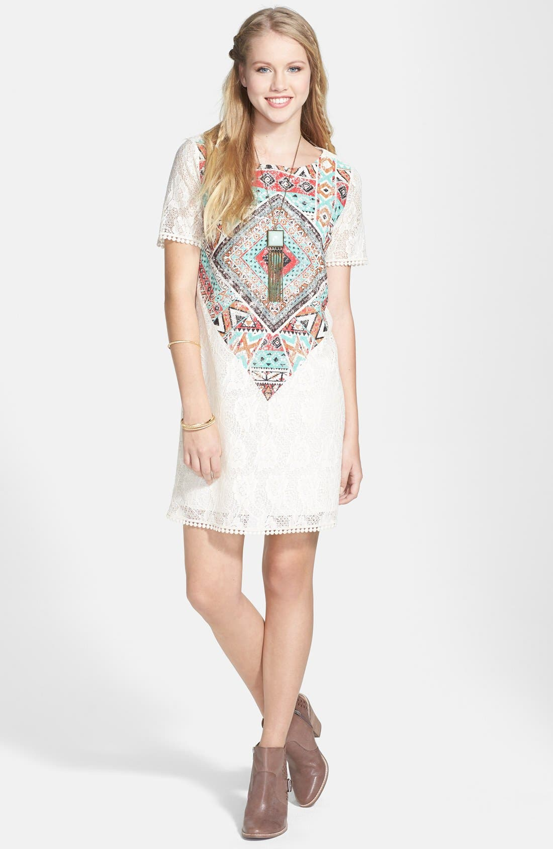 Alternate Image 1 Selected - Everly Print Lace Shift Dress (Juniors) (Online Only)