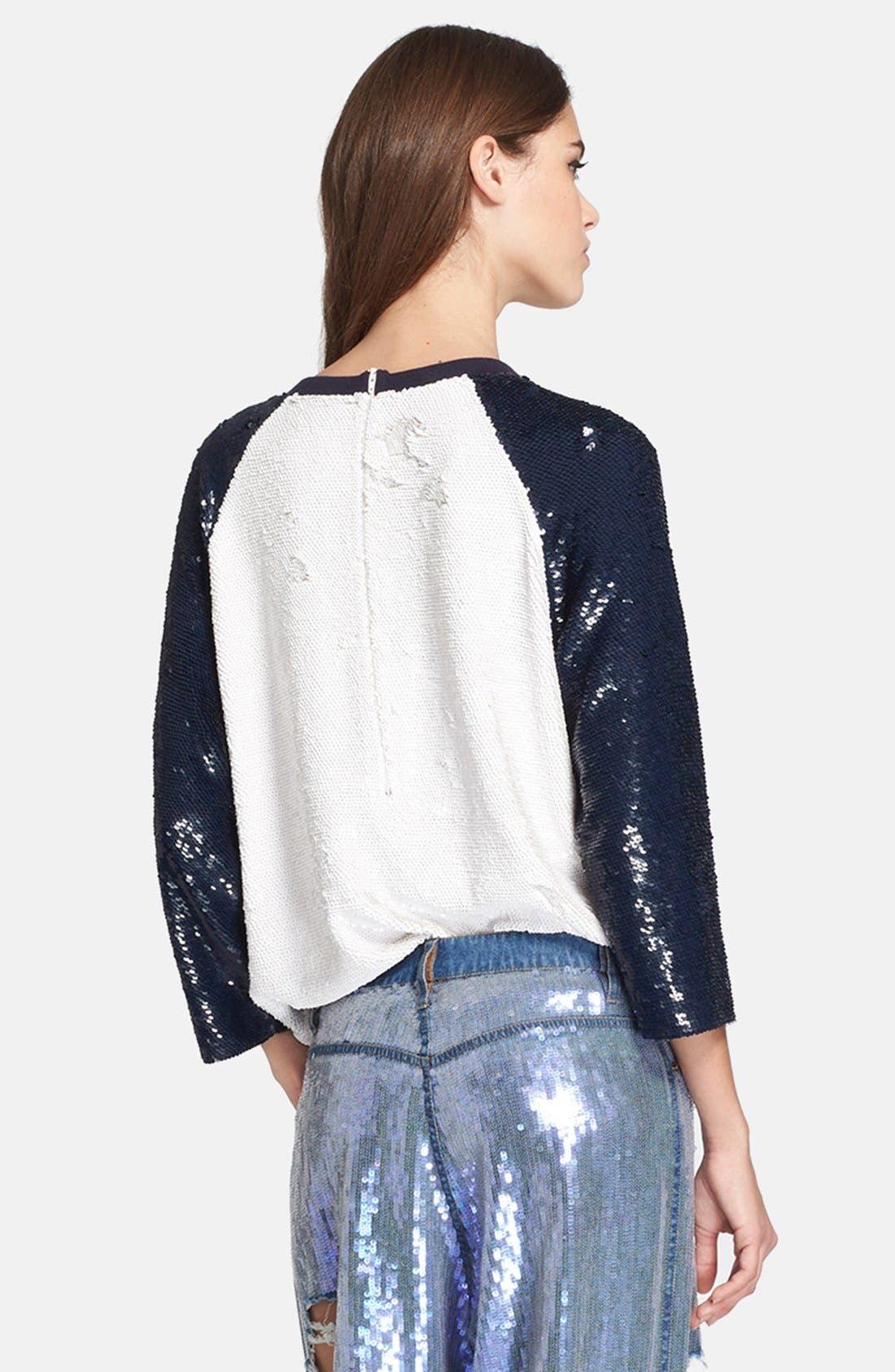 Alternate Image 2  - Ashish Sequin Silk Georgette Baseball Tee