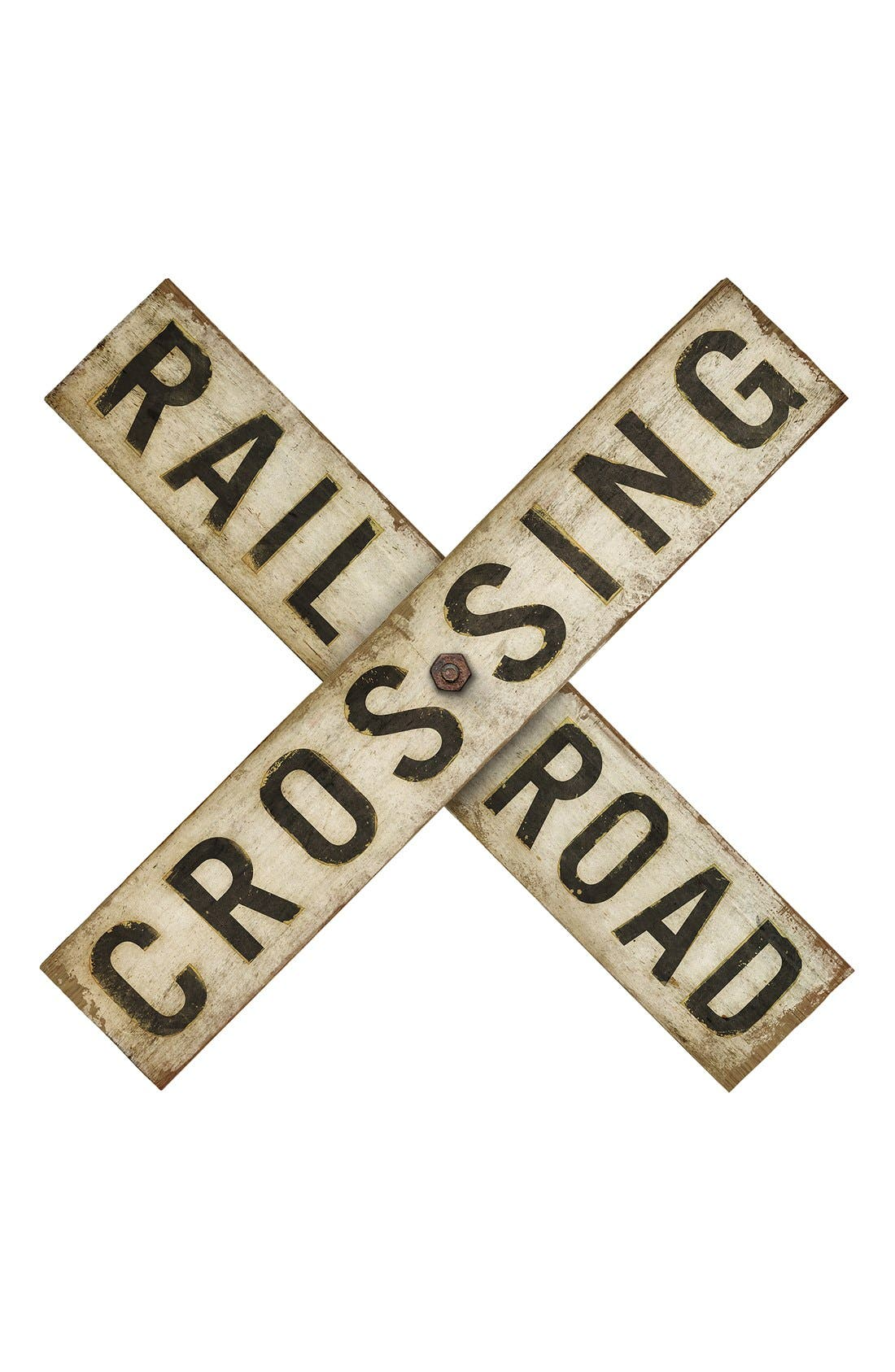 Alternate Image 1 Selected - Spicher and Company 'Railroad Crossing' Vintage Look Sign Artwork
