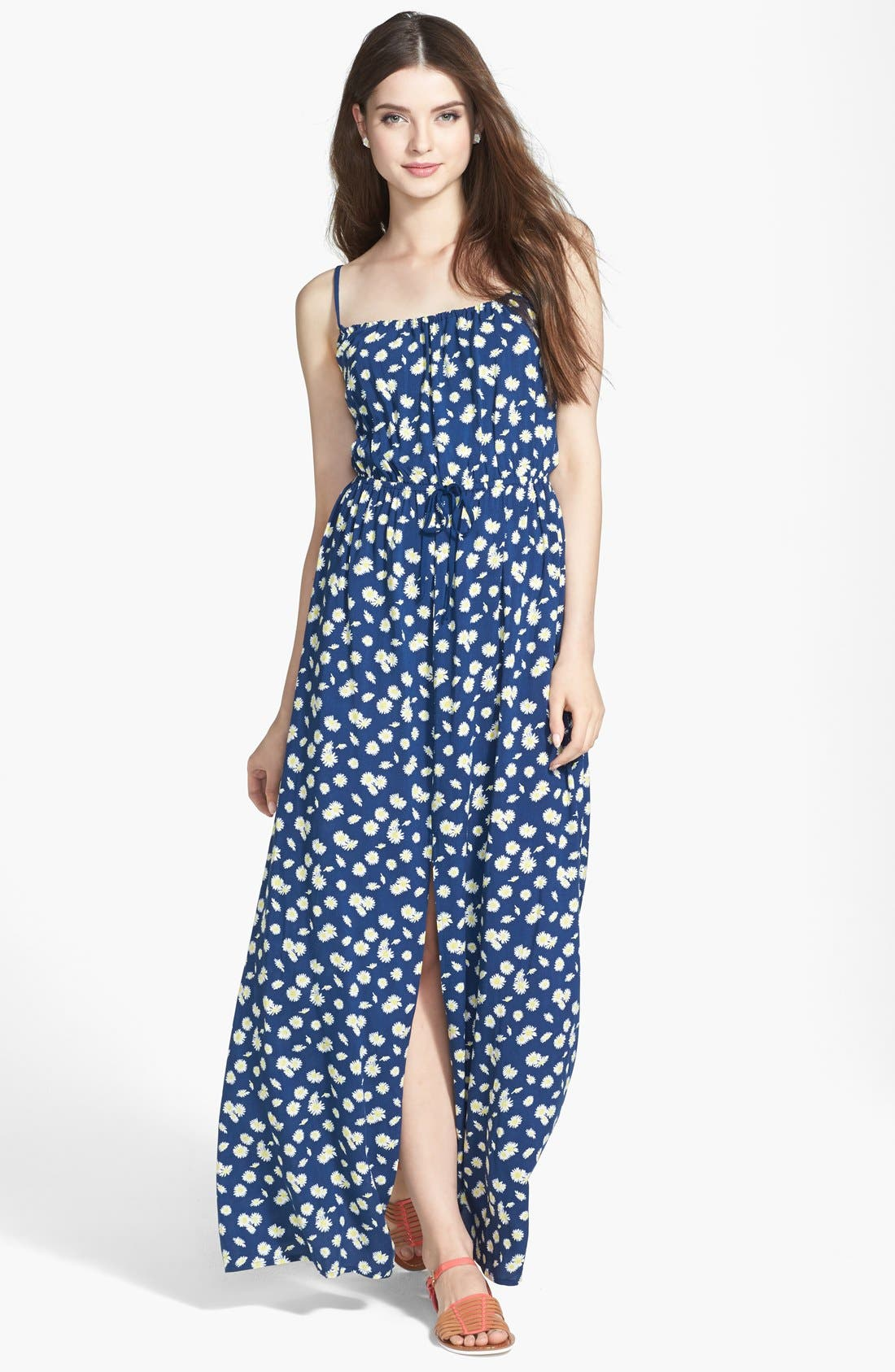 Main Image - Mimi Chica Open Back Daisy Print Maxi Dress (Juniors)