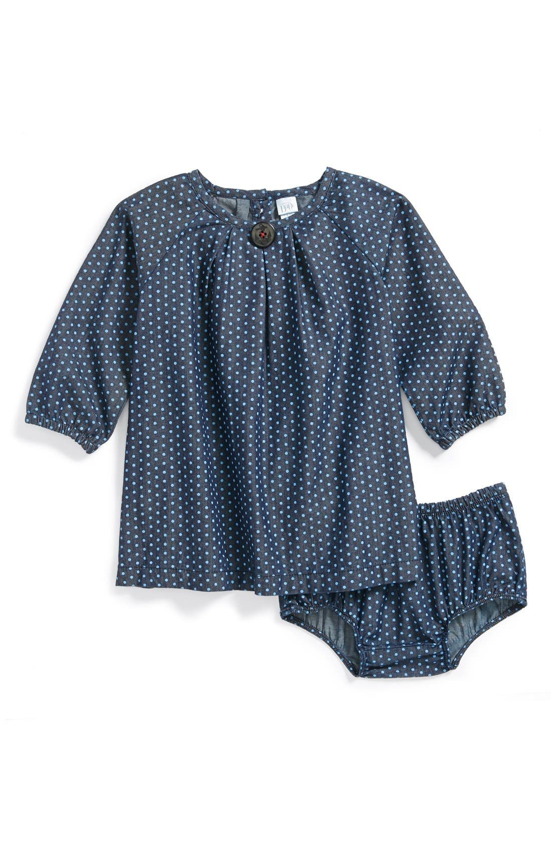 Main Image - Nordstrom Baby Chambray Dress & Bloomers (Baby Girls)