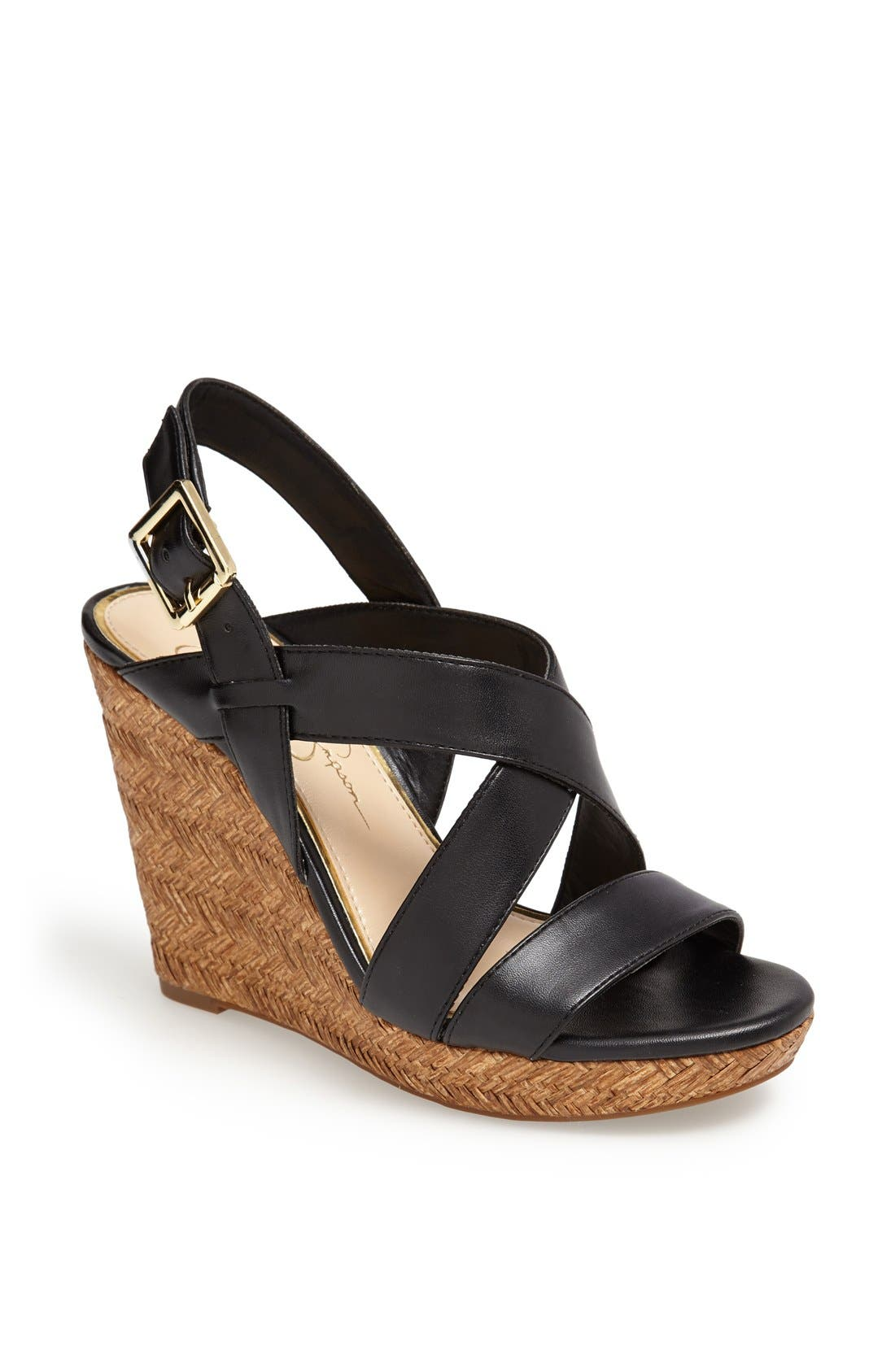 Alternate Image 1 Selected - Jessica Simpson 'Jerrimo' Basket Woven Wedge Sandal