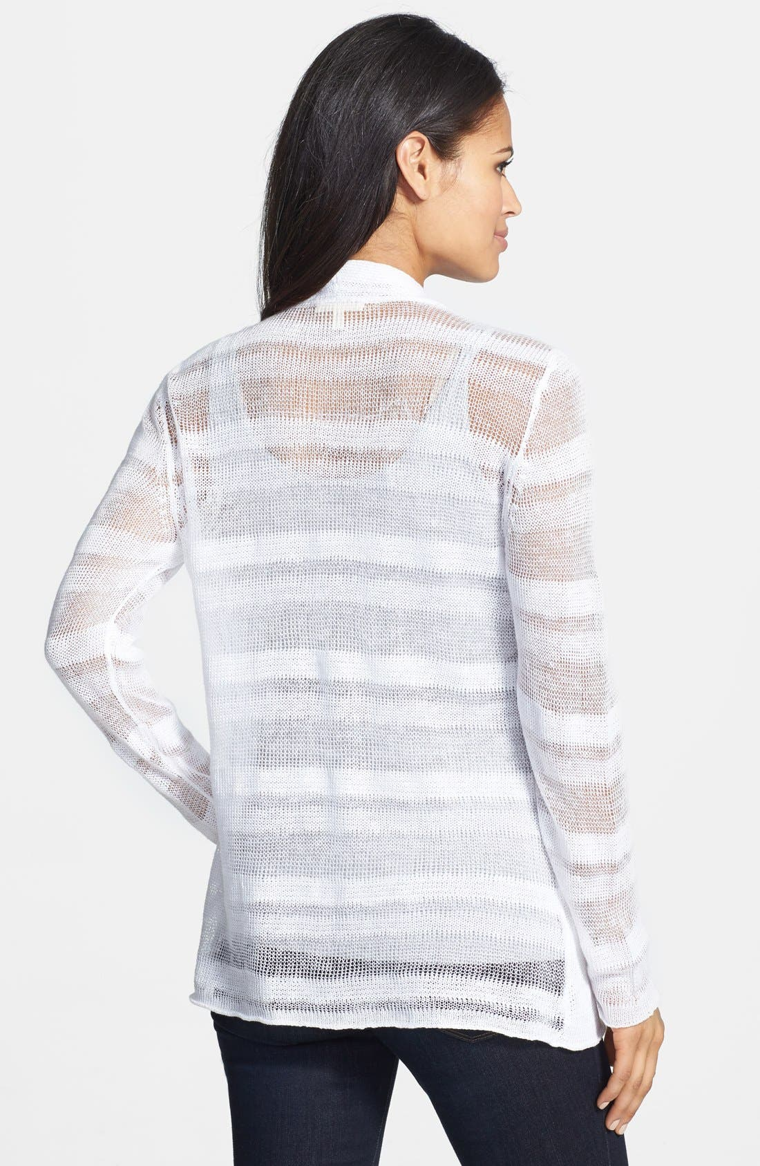 Alternate Image 2  - Eileen Fisher Shadow Stripe Linen Cardigan (Petite)