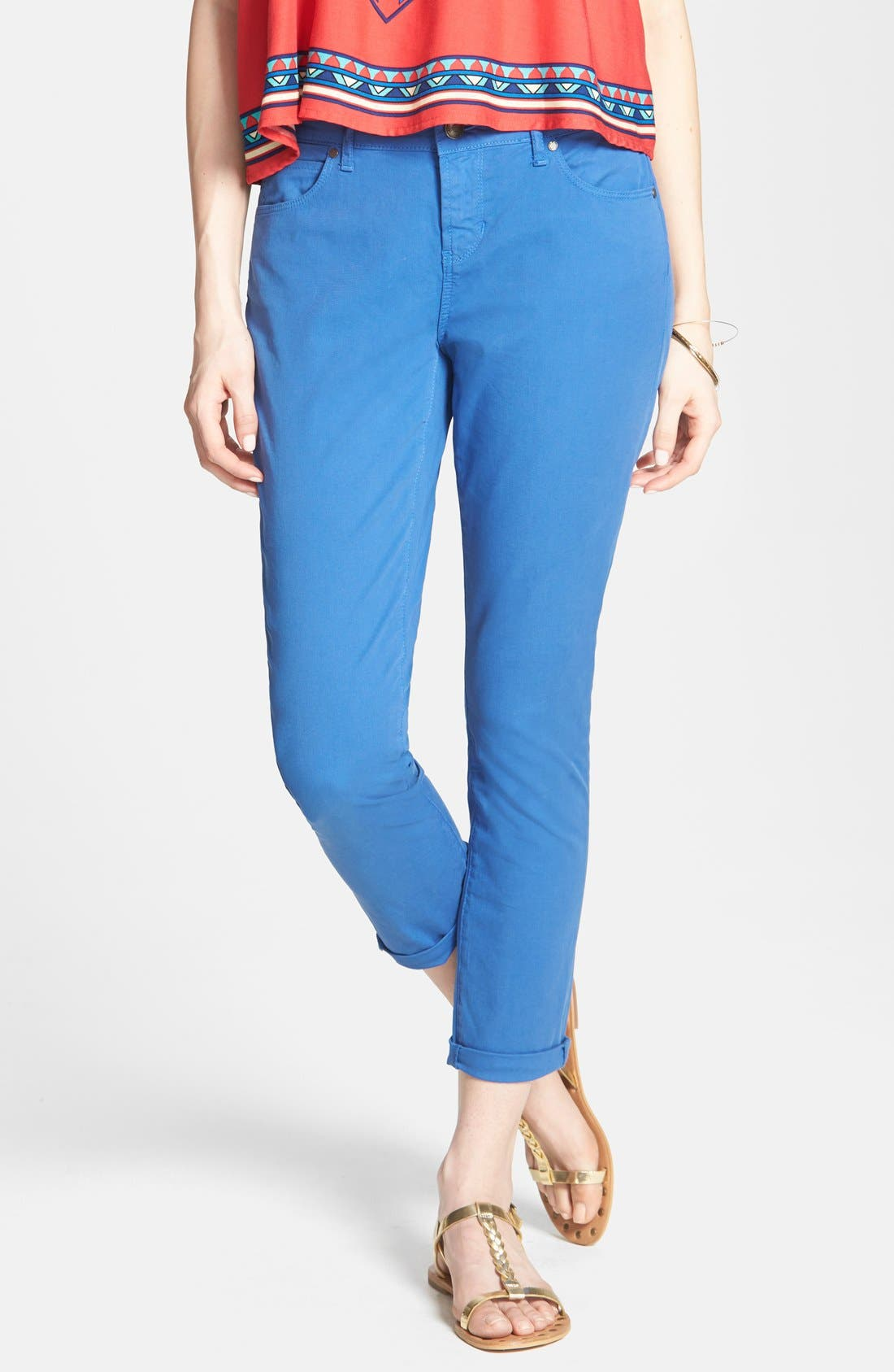 Alternate Image 1 Selected - Articles of Society 'Cindy' Skinny Cotton Trousers (Juniors)