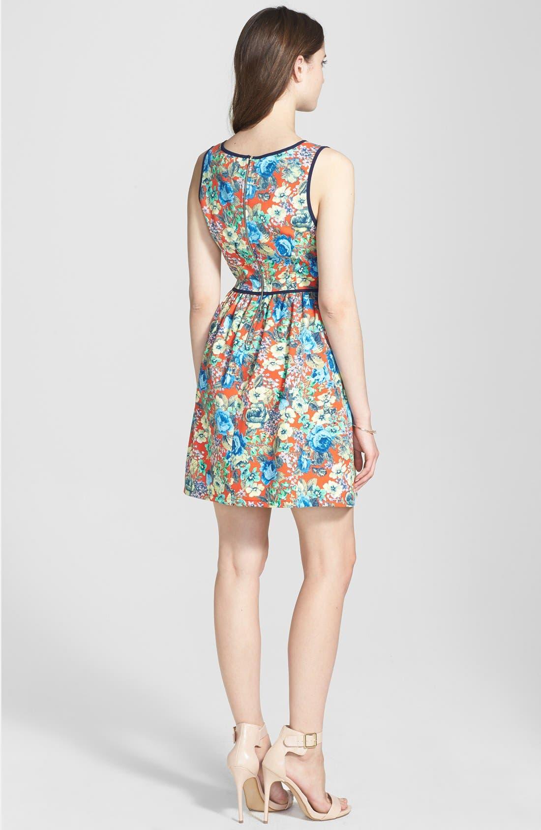 Alternate Image 2  - Soprano Piped Fit & Flare Dress (Juniors)