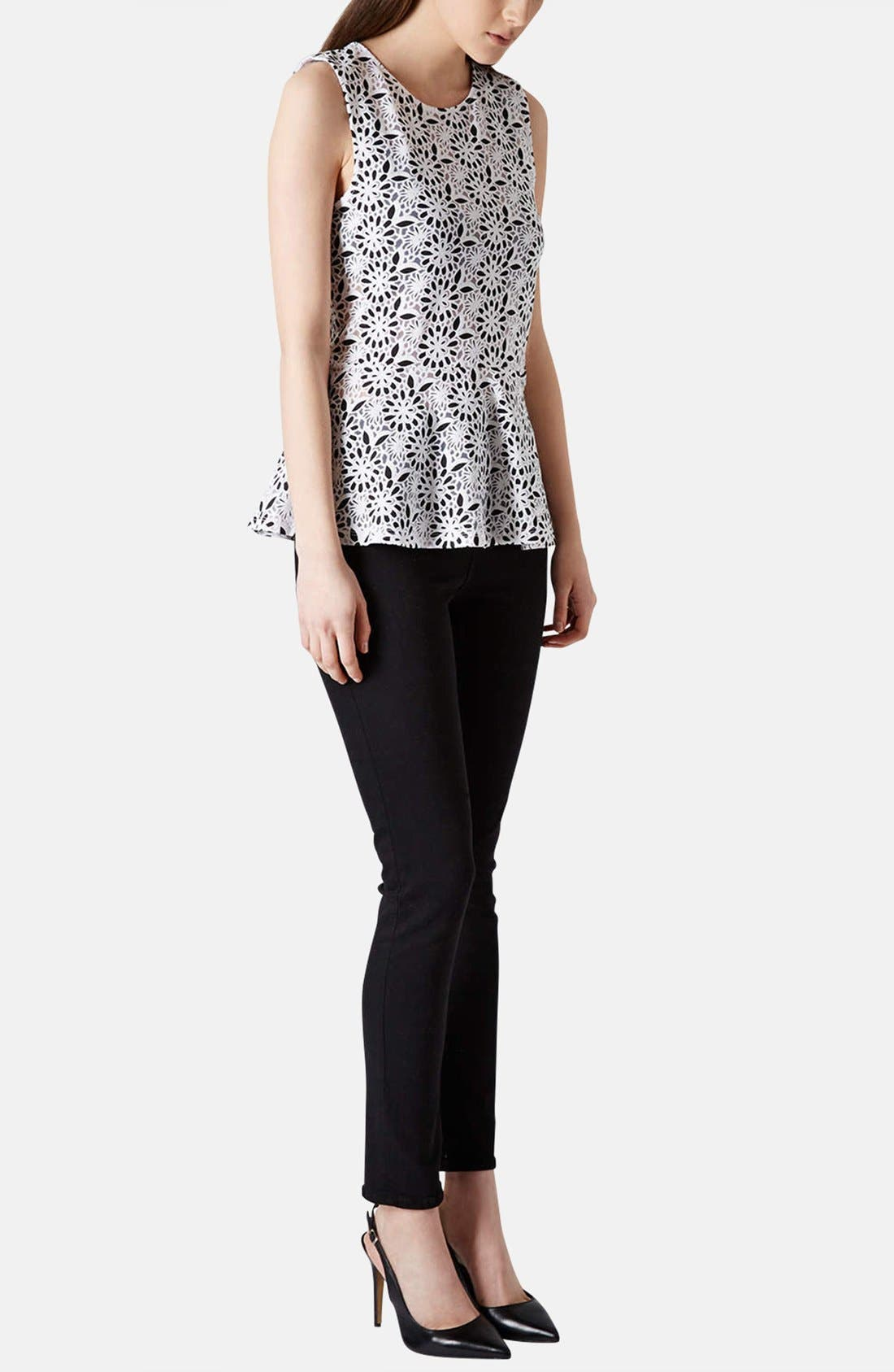 Alternate Image 5  - Topshop Floral Burnout Peplum Top