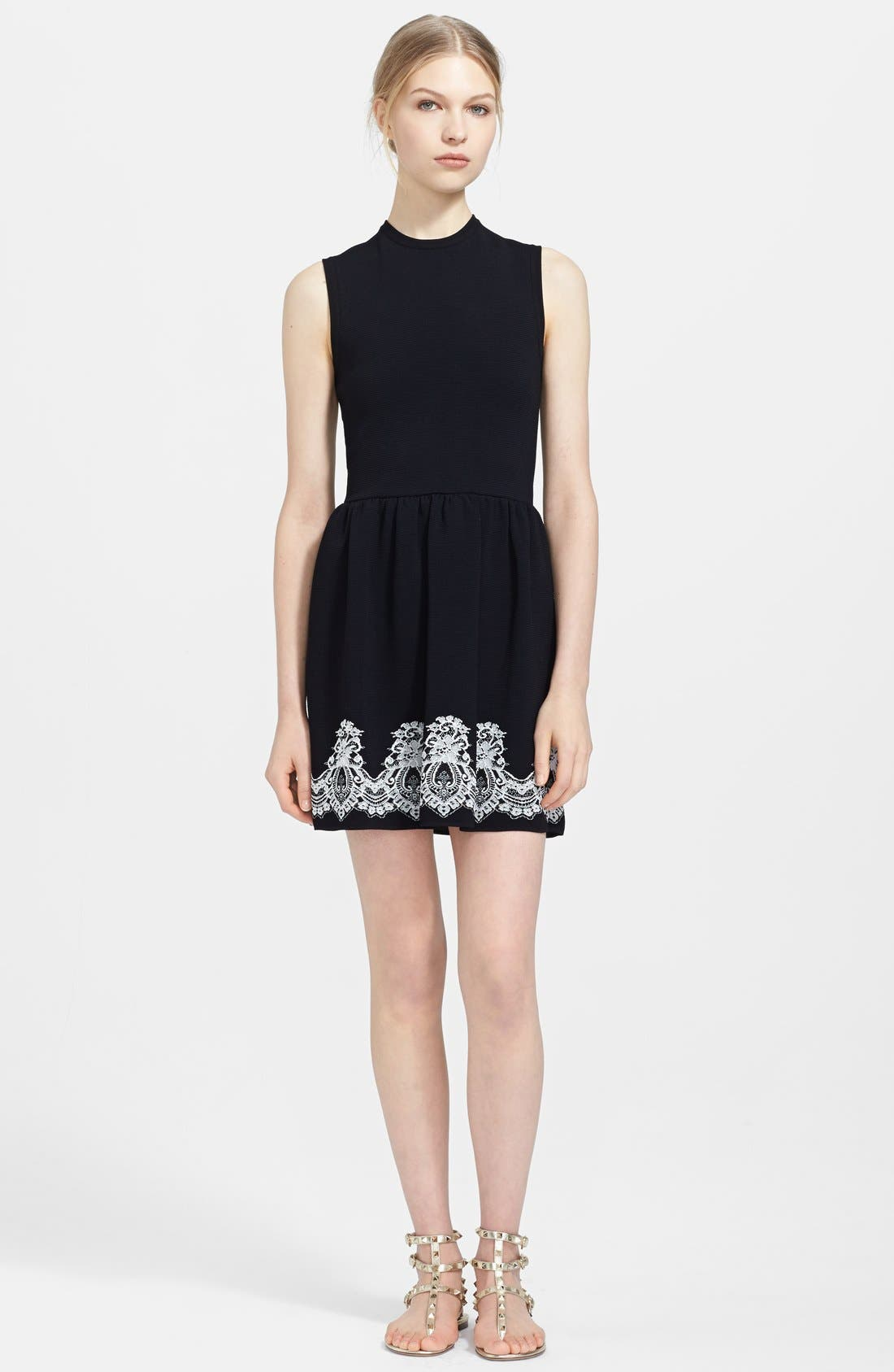 Main Image - Valentino Lace Print Ribbed Dress