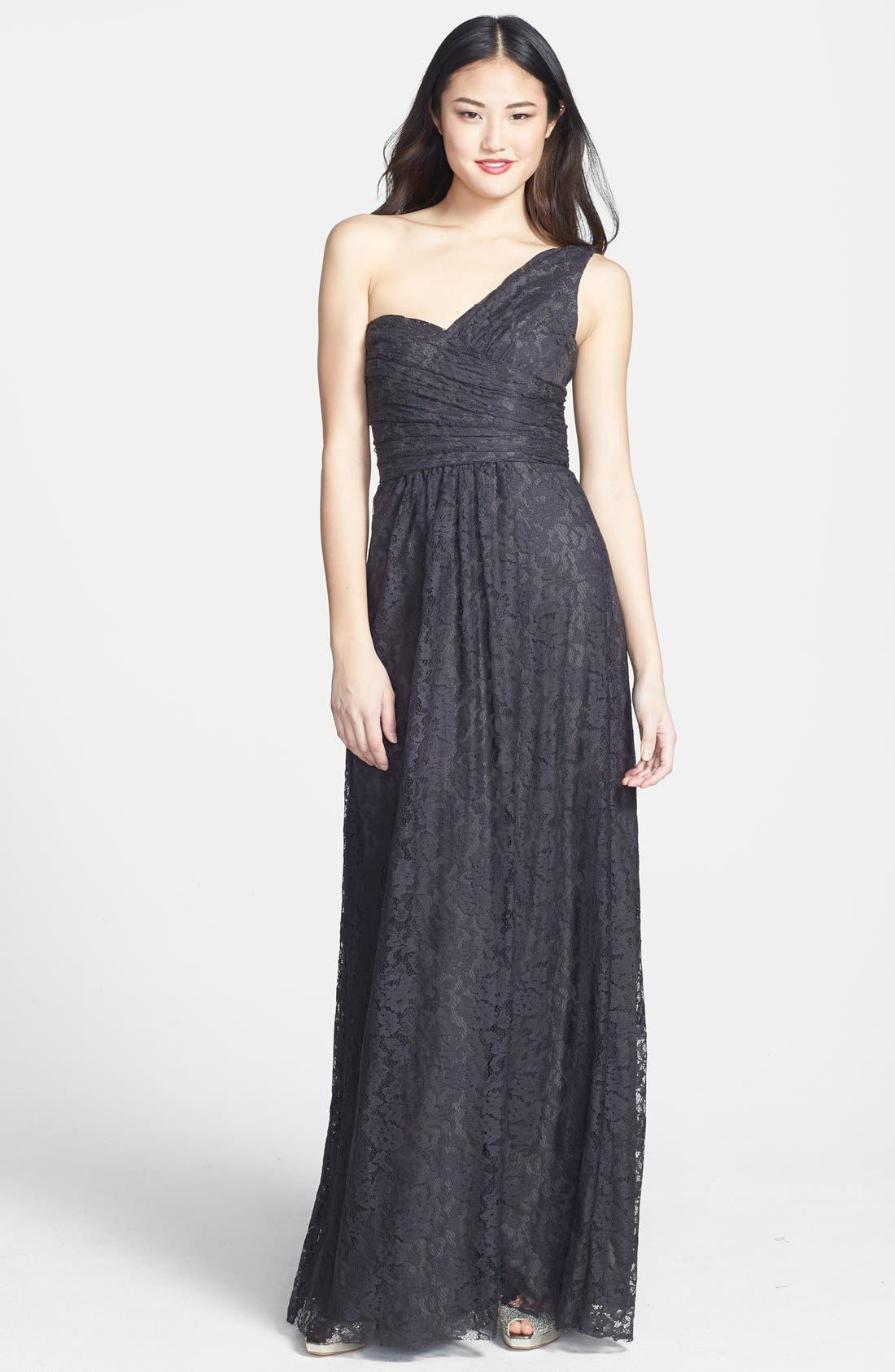 Main Image - Amsale One-Shoulder Lace Gown