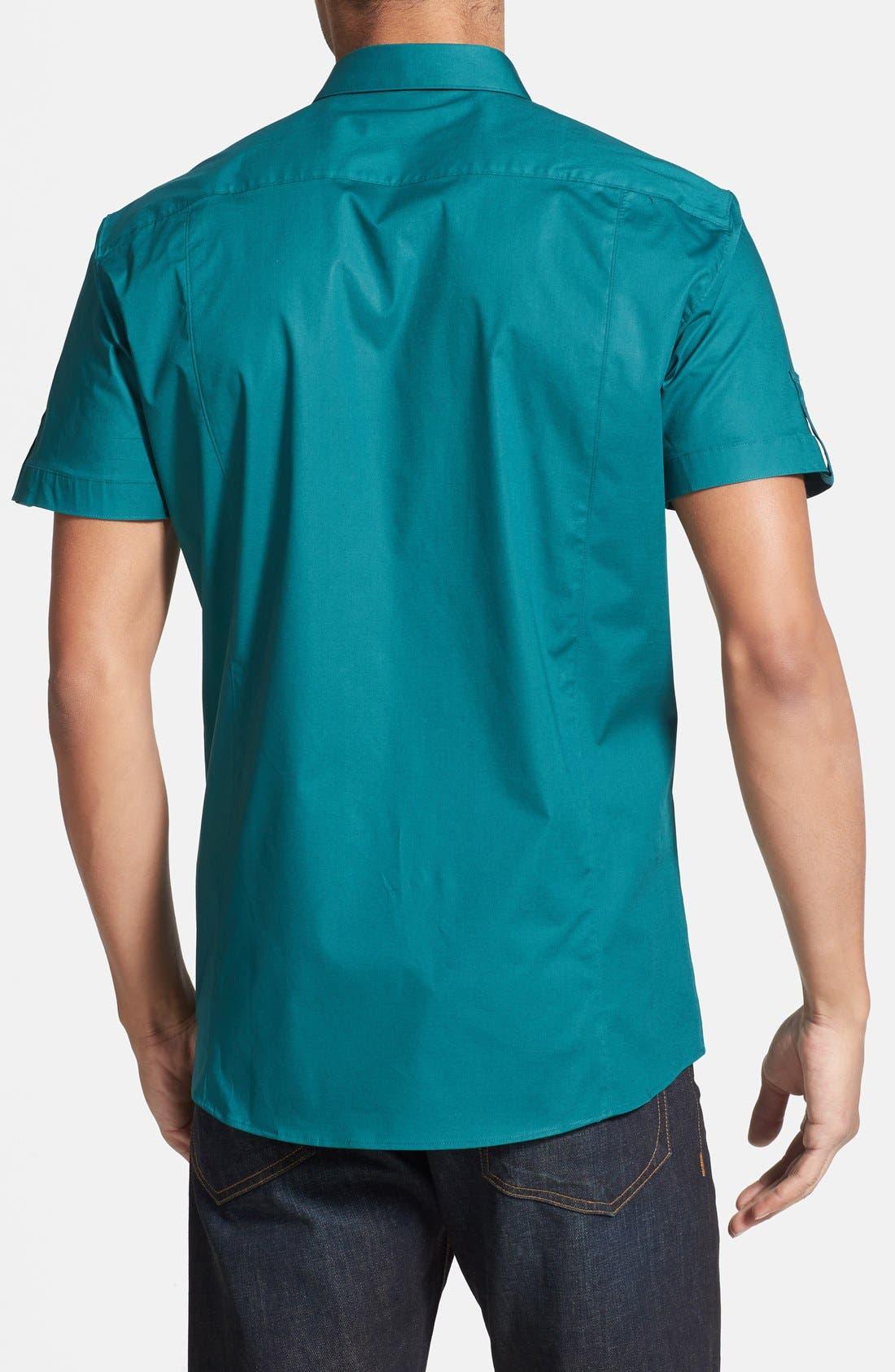 Alternate Image 2  - HUGO Slim Fit Short Sleeve Woven Sport Shirt