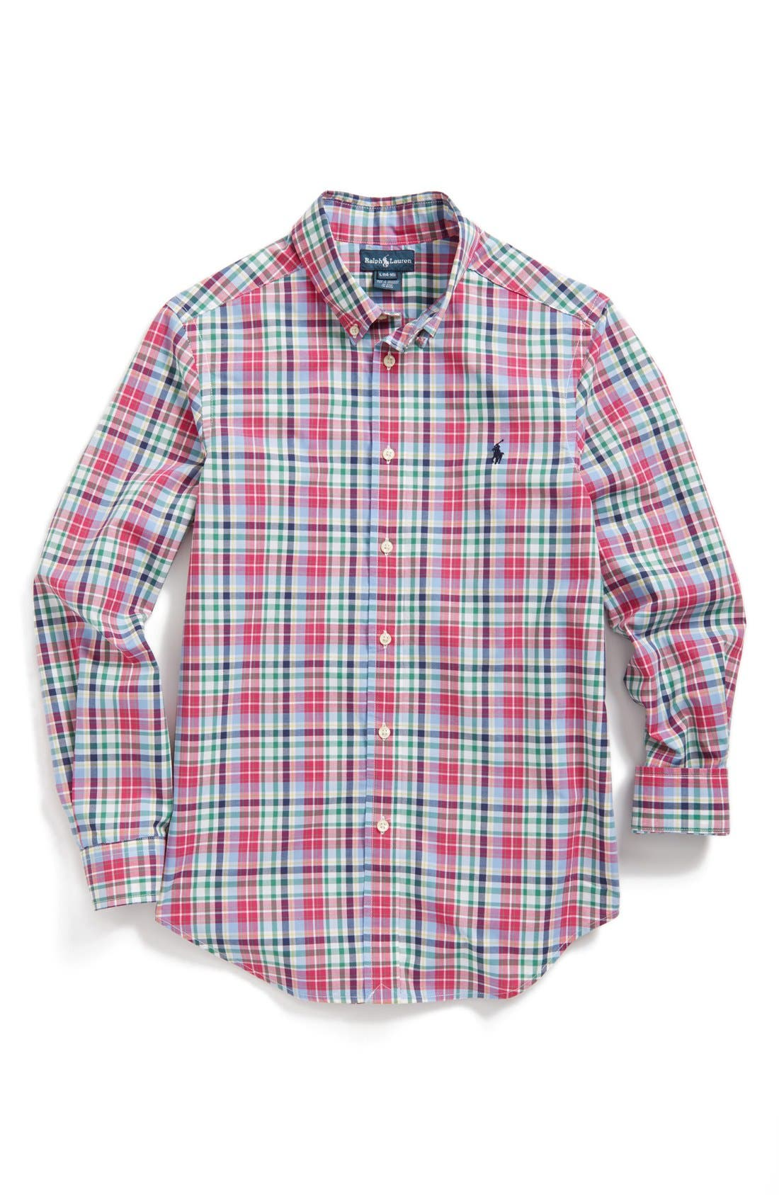 Main Image - Ralph Lauren Plaid Shirt (Big Boys)