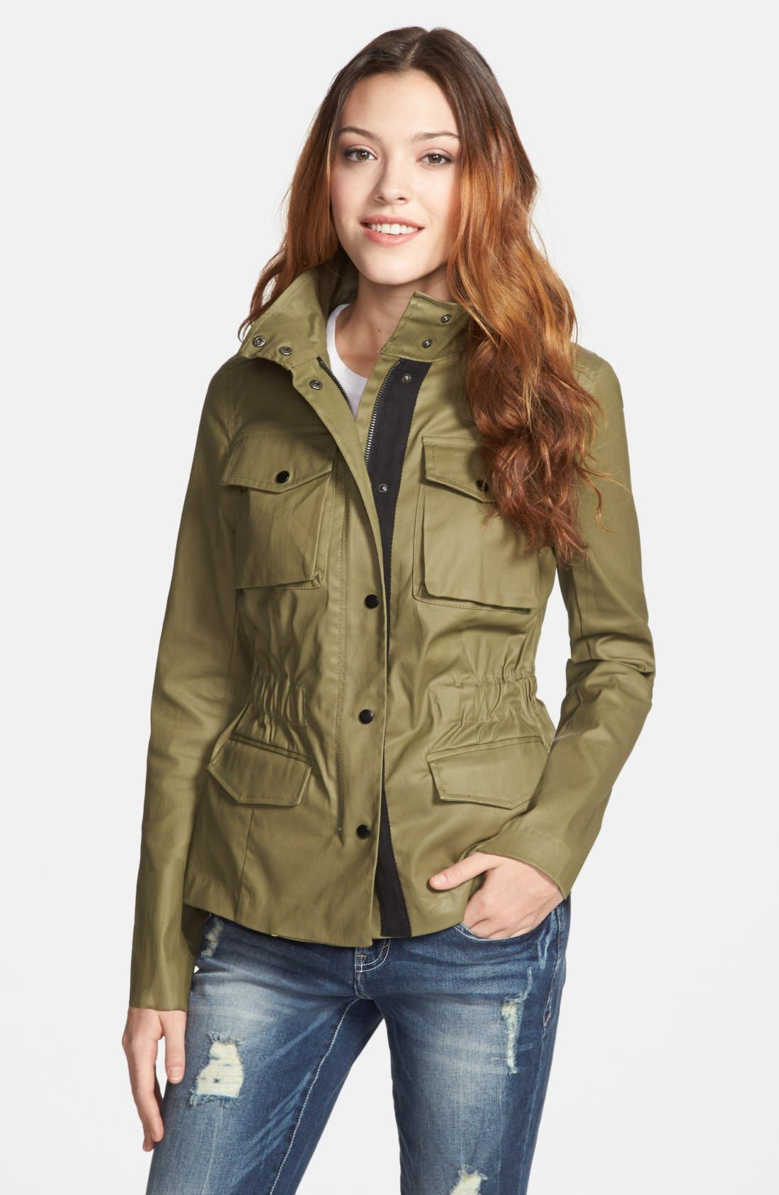 Alternate Image 1 Selected - kensie Washed Cotton Anorak Jacket