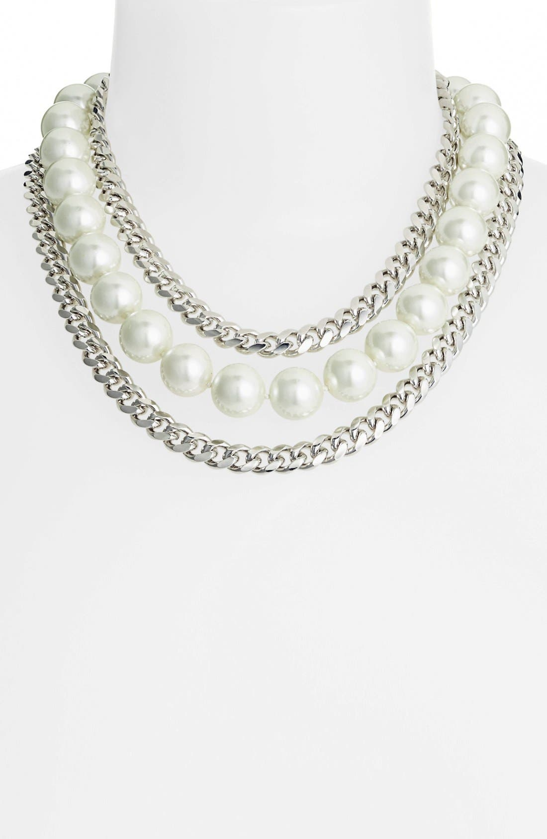 Main Image - Givenchy Faux Pearl & Link Bib Necklace (Nordstrom Exclusive)