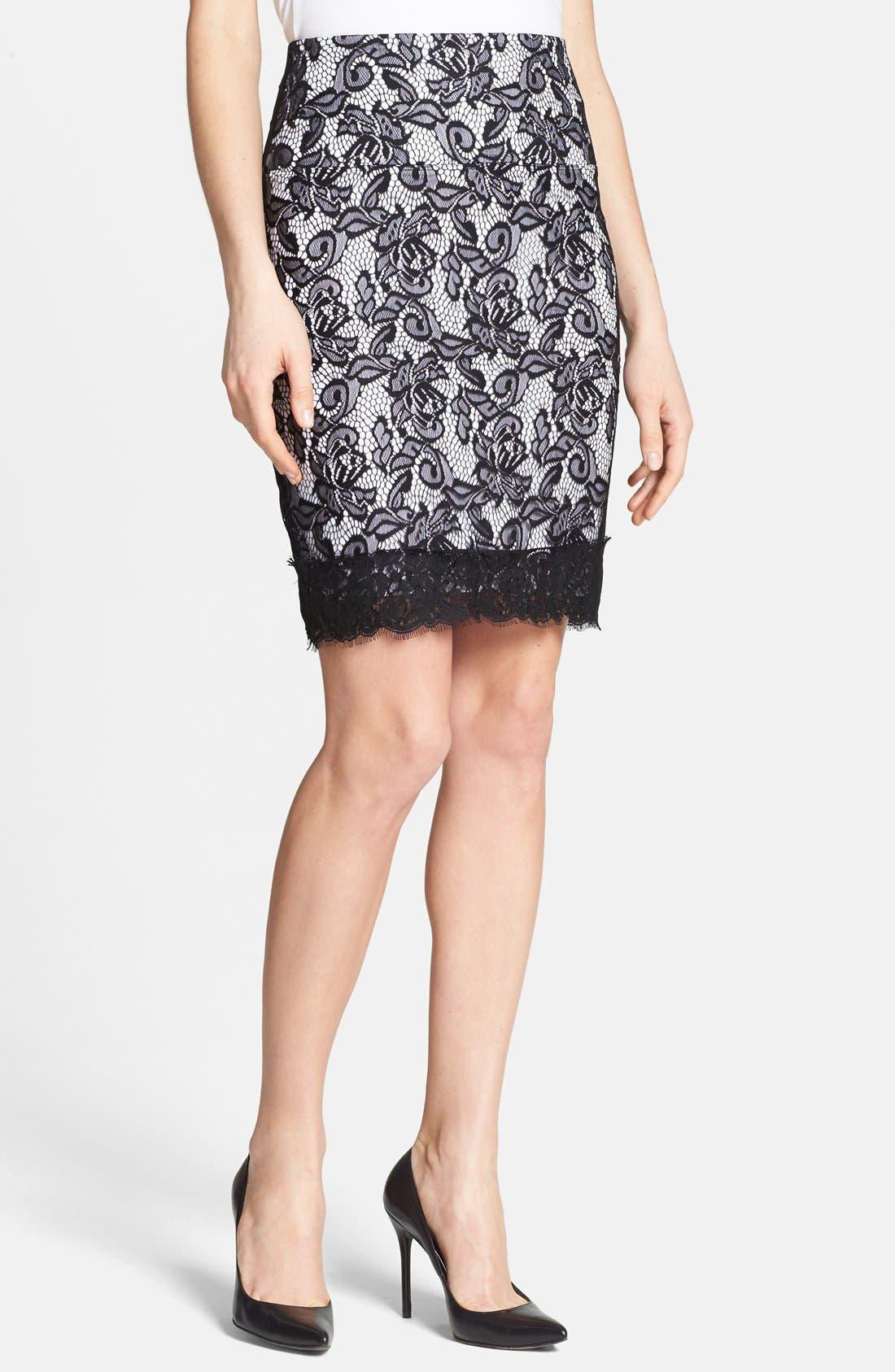 Main Image - Lyssé Lace Overlay Control Top Pencil Skirt