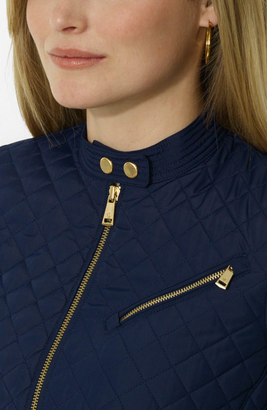 Alternate Image 3  - Lauren Ralph Lauren Quilted Zip Front Hip Length Jacket (Plus Size)