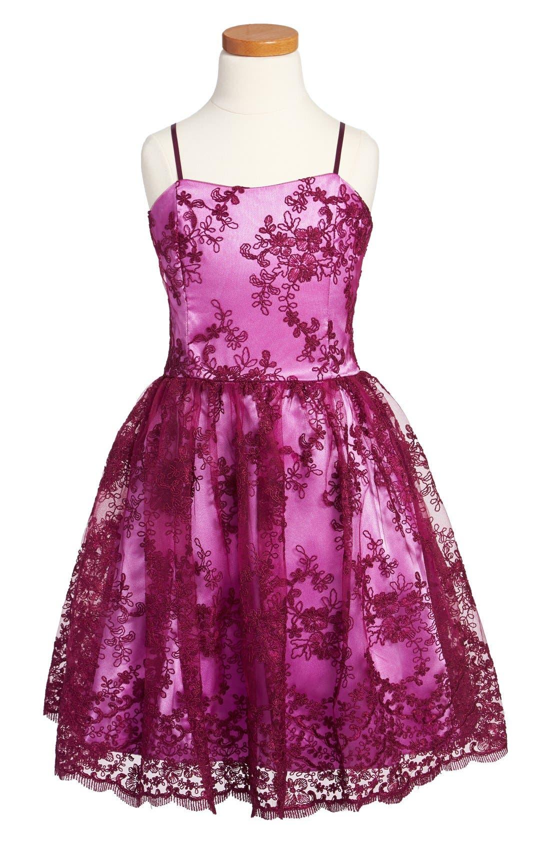 Alternate Image 1 Selected - Un Deux Trois Floral Lace Dress (Big Girls)