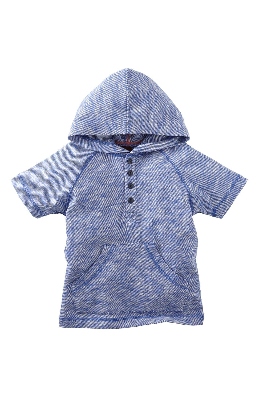 Main Image - Tea Collection 'End-on-End' Short Sleeve Hoodie (Toddler Boys)