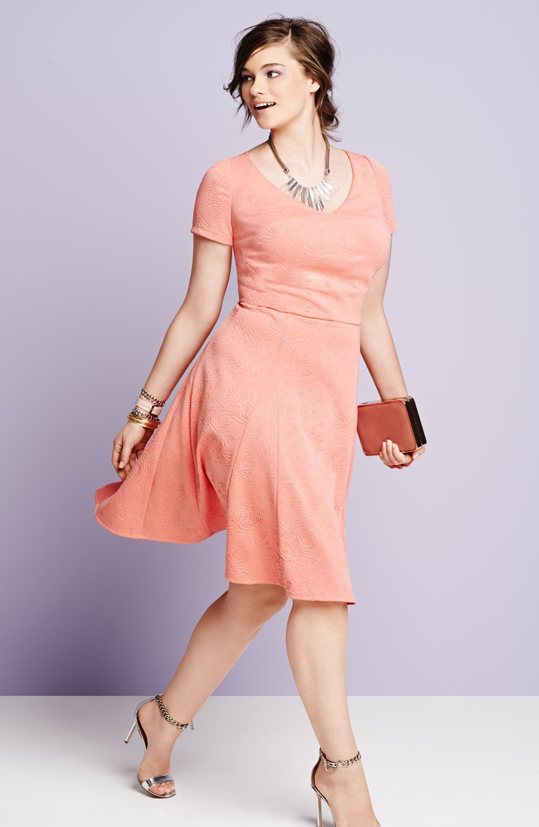 Alternate Image 4  - ABS by Allen Schwartz Embossed Floral Fit & Flare Dress (Plus Size)