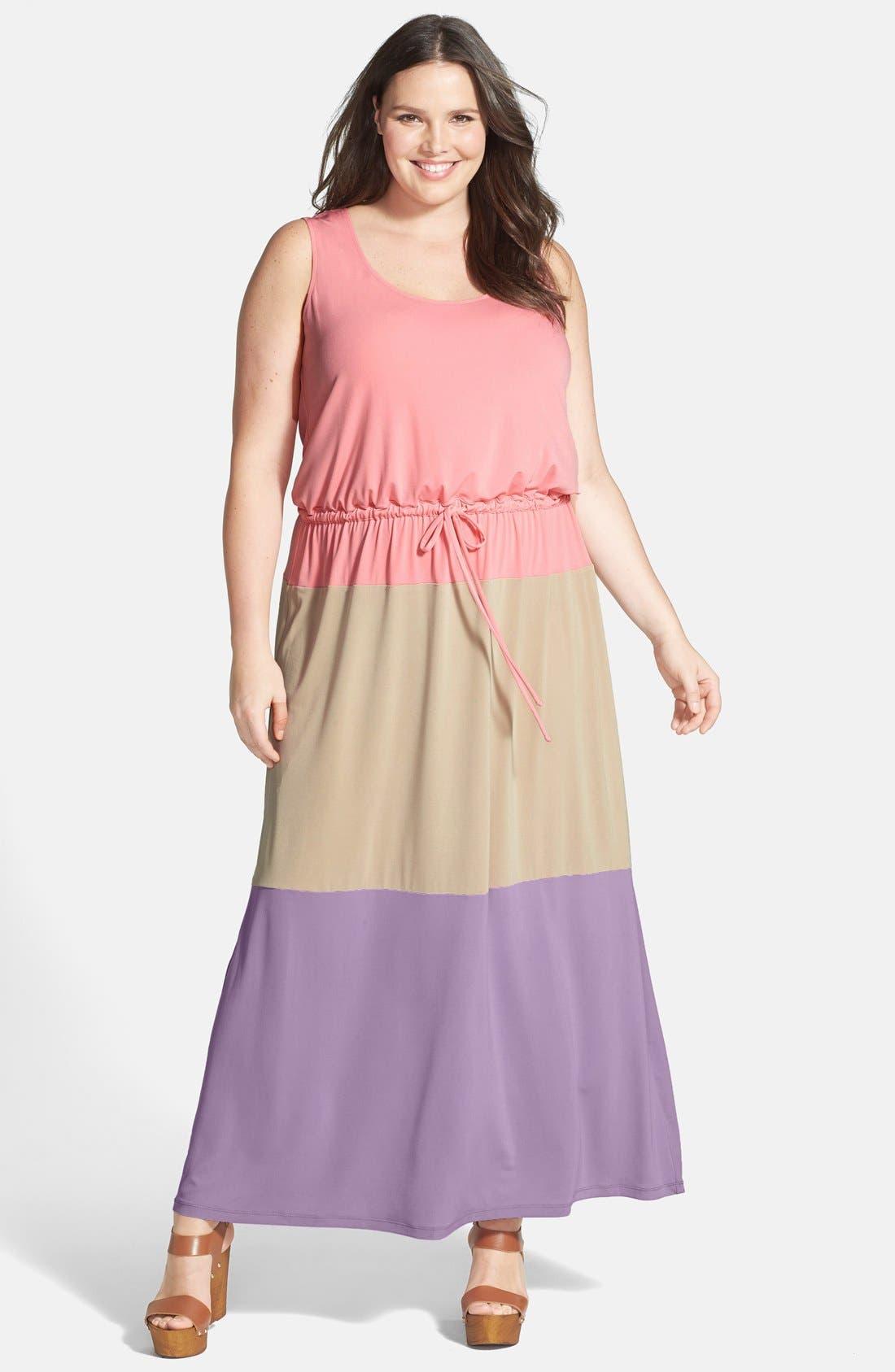 Main Image - London Times Colorblock Print Matte Jersey Maxi Dress (Plus Size)