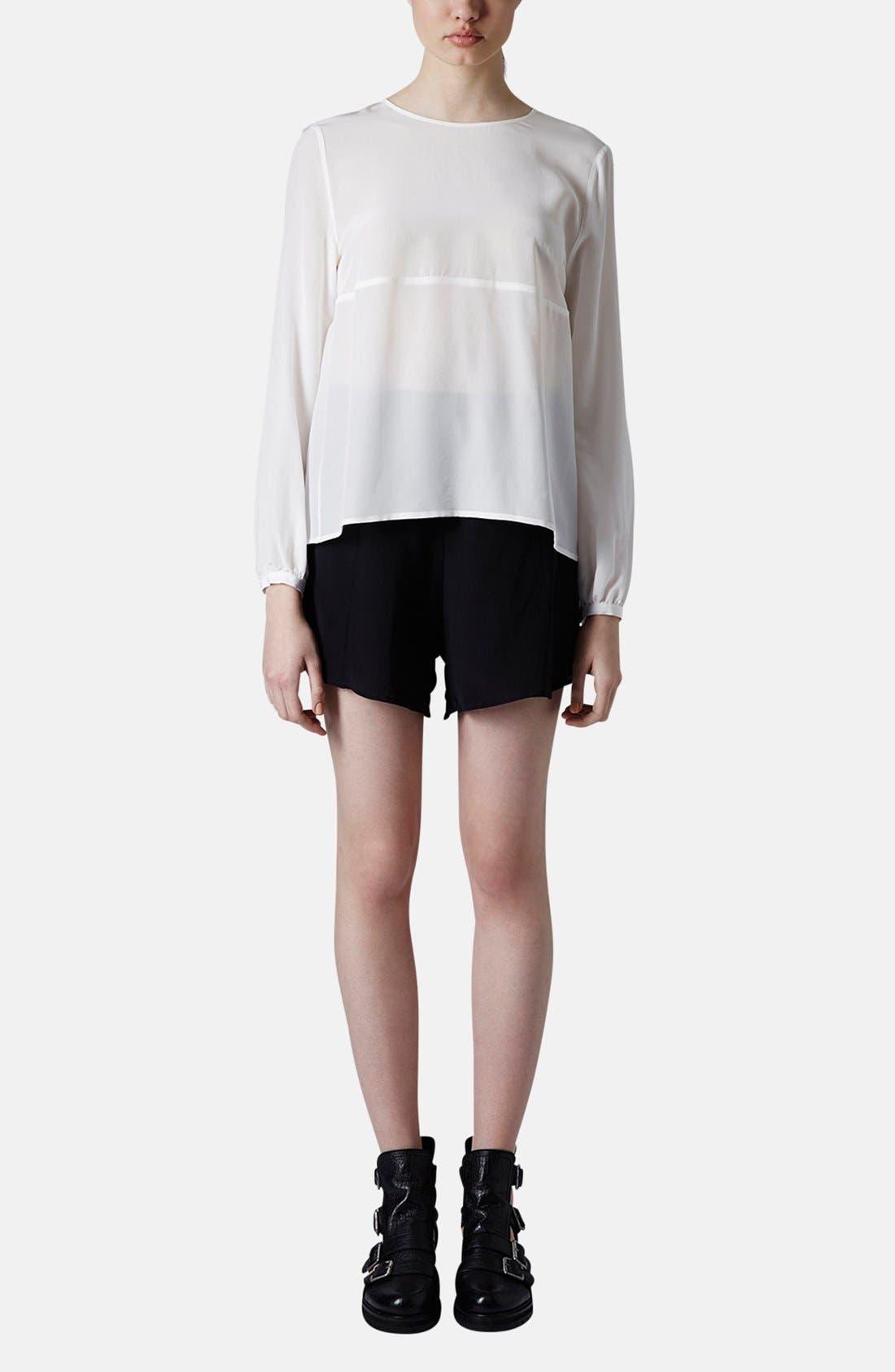Alternate Image 6  - Topshop Boutique Tulle Back Silk Blouse